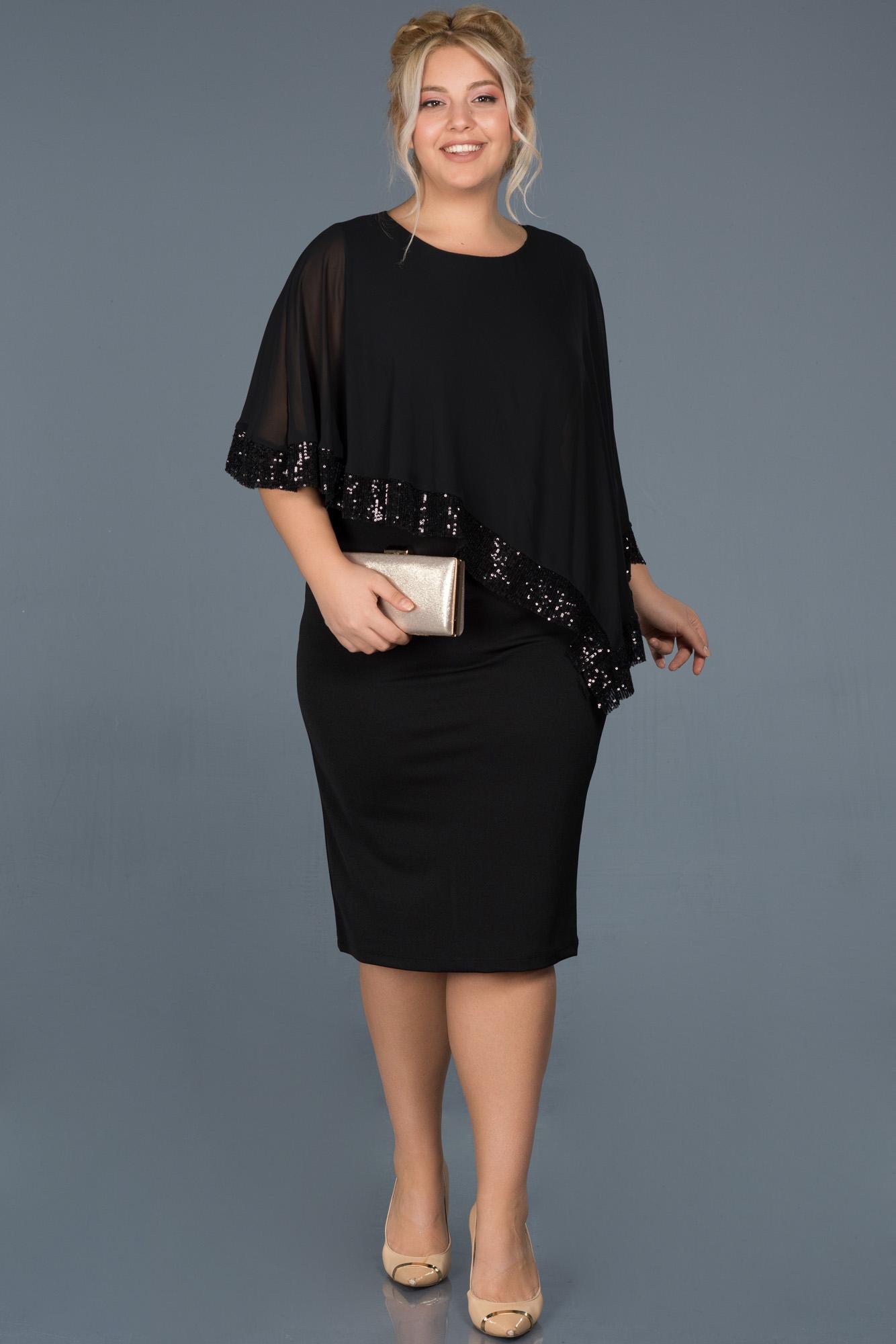 Siyah Kısa Tül Detaylı Büyük Beden Davet Elbisesi