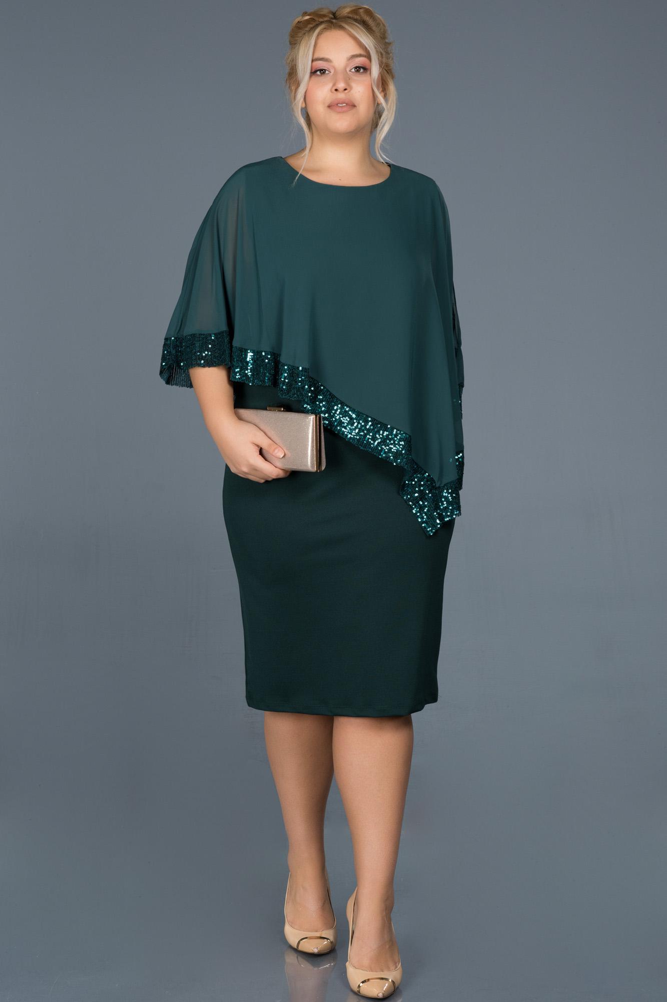Yeşil Kısa Tül Detaylı Büyük Beden Davet Elbisesi