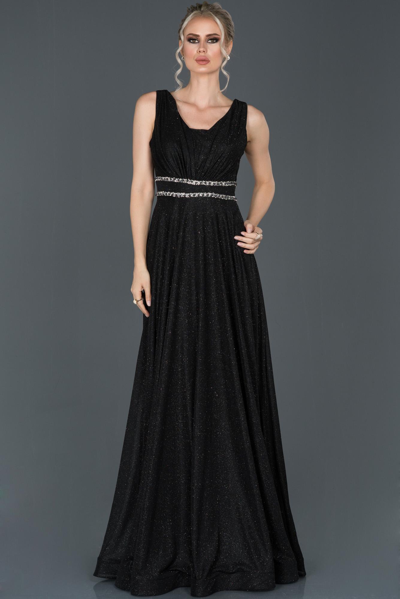 Siyah Uzun Simli Kolsuz Abiye Elbise