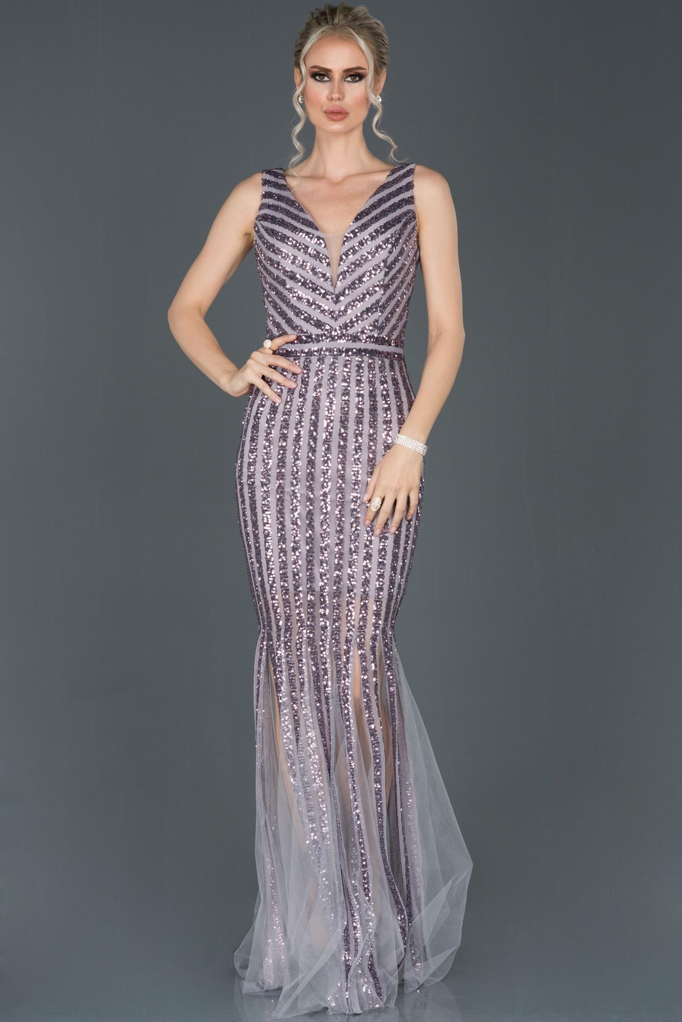 Lila Uzun Pul Payetli Balık Abiye Elbise