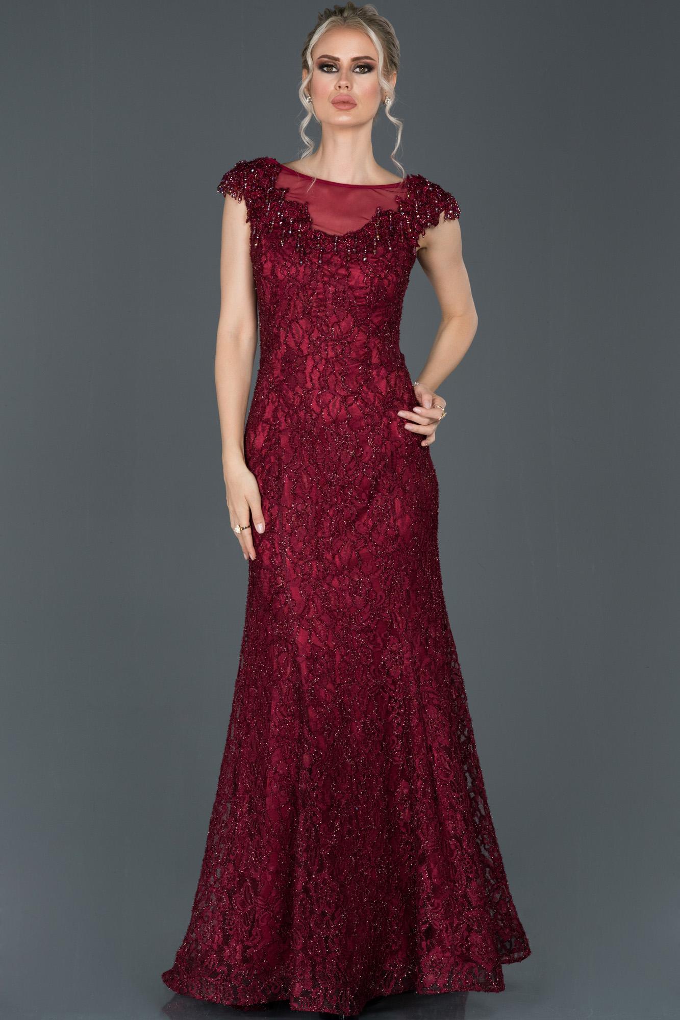 Bordo Uzun Güpürlü Taş Işlemeli Nişan Elbisesi