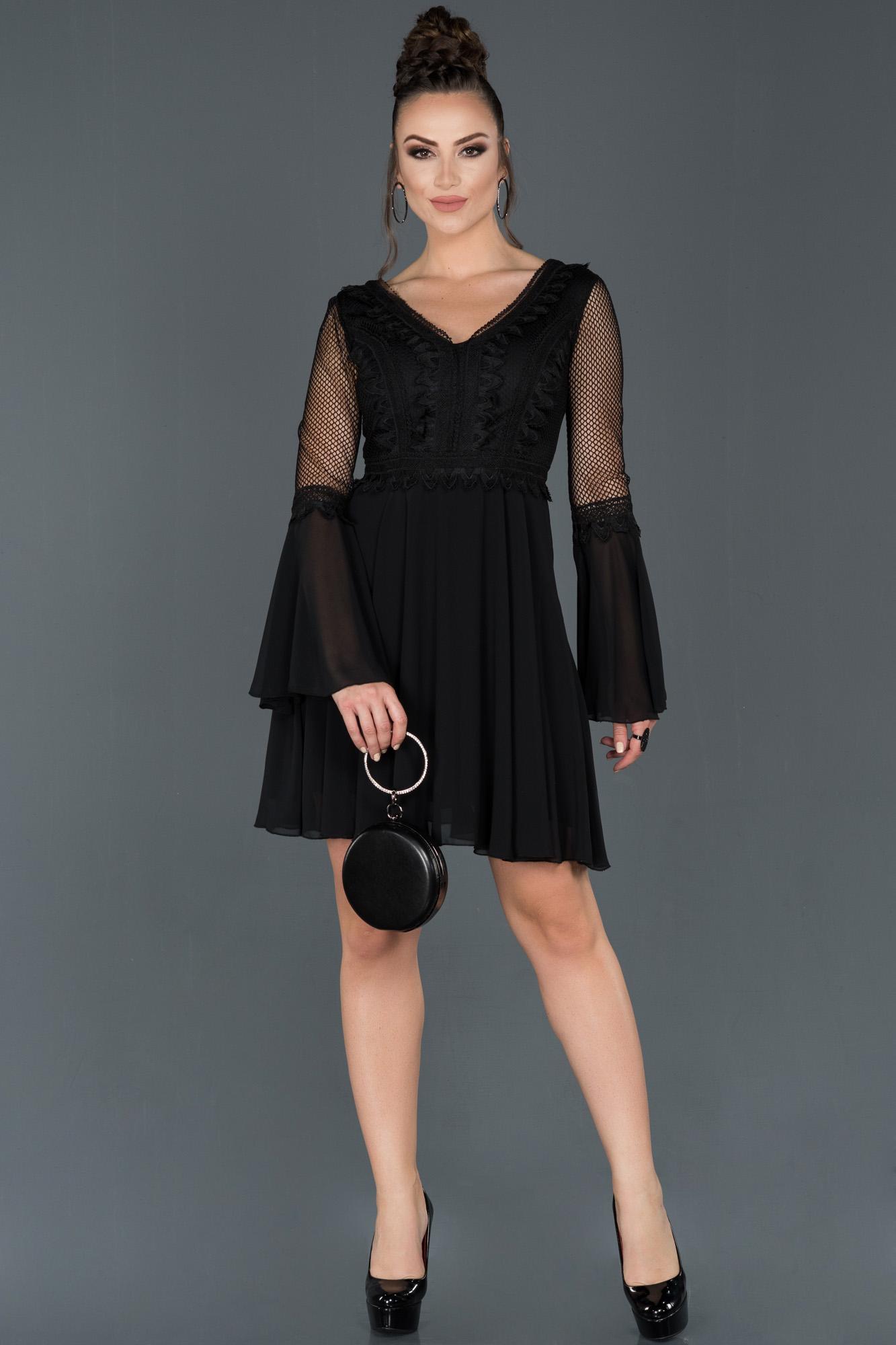 Siyah Kısa Ispanyol Kol Davet Elbisesi