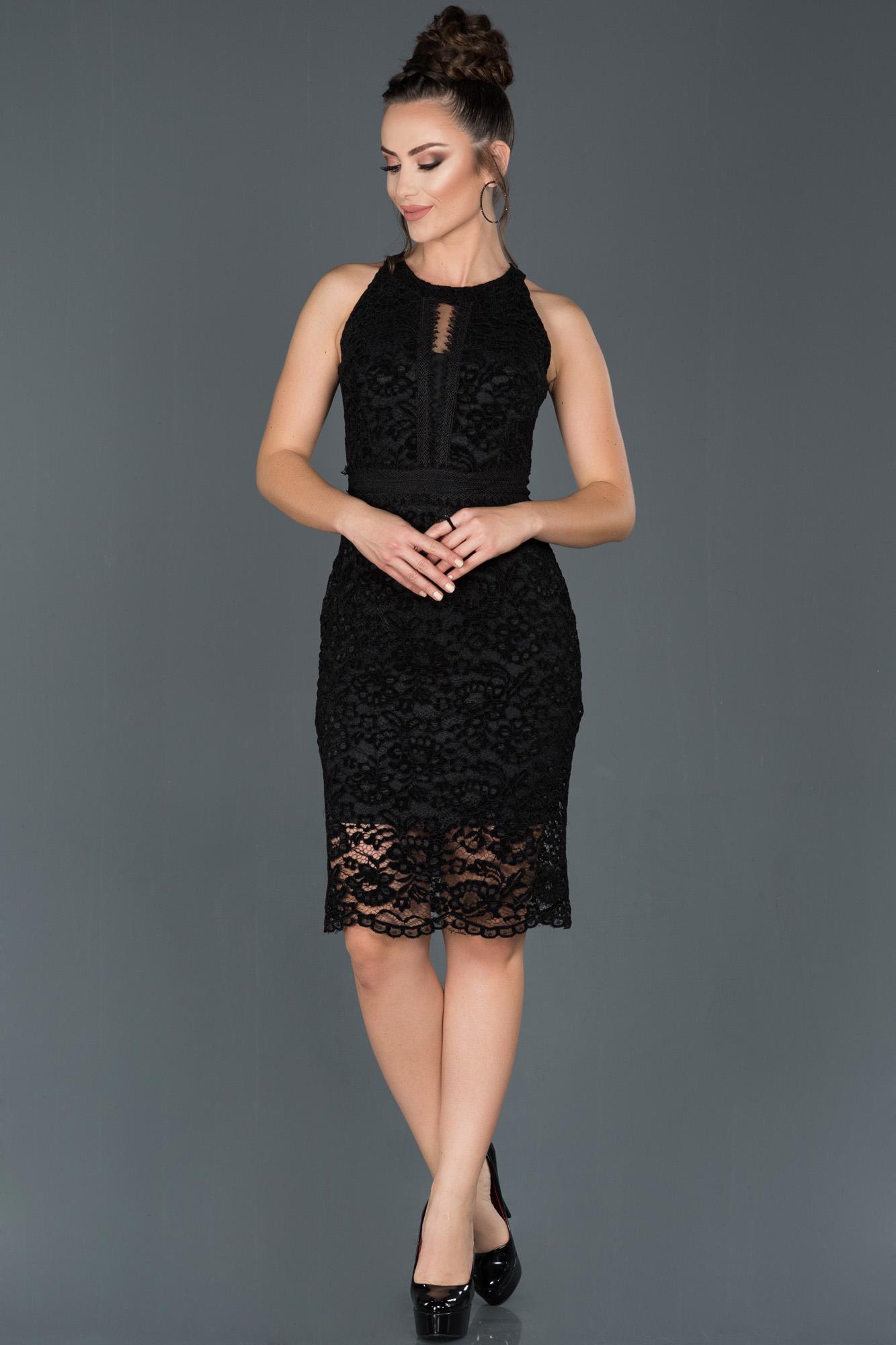Siyah Kısa Güpürlü Kadife Davet Elbisesi