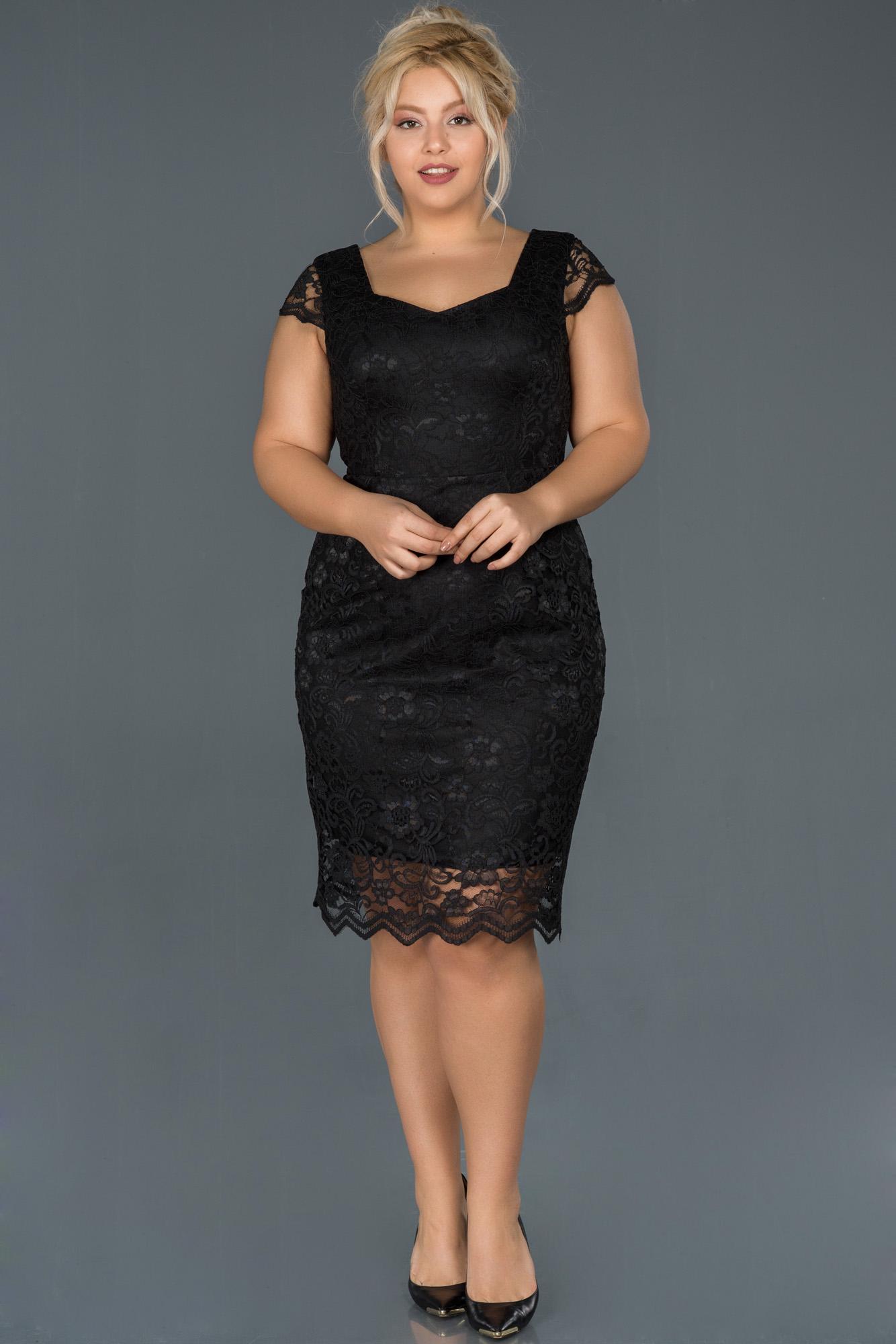 Siyah Dantelli Büyük Beden Elbise