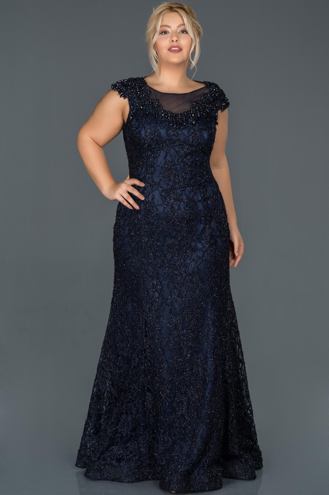 Lacivert Güpürlü Taş Işlemeli Büyük Beden Nişan Elbisesi