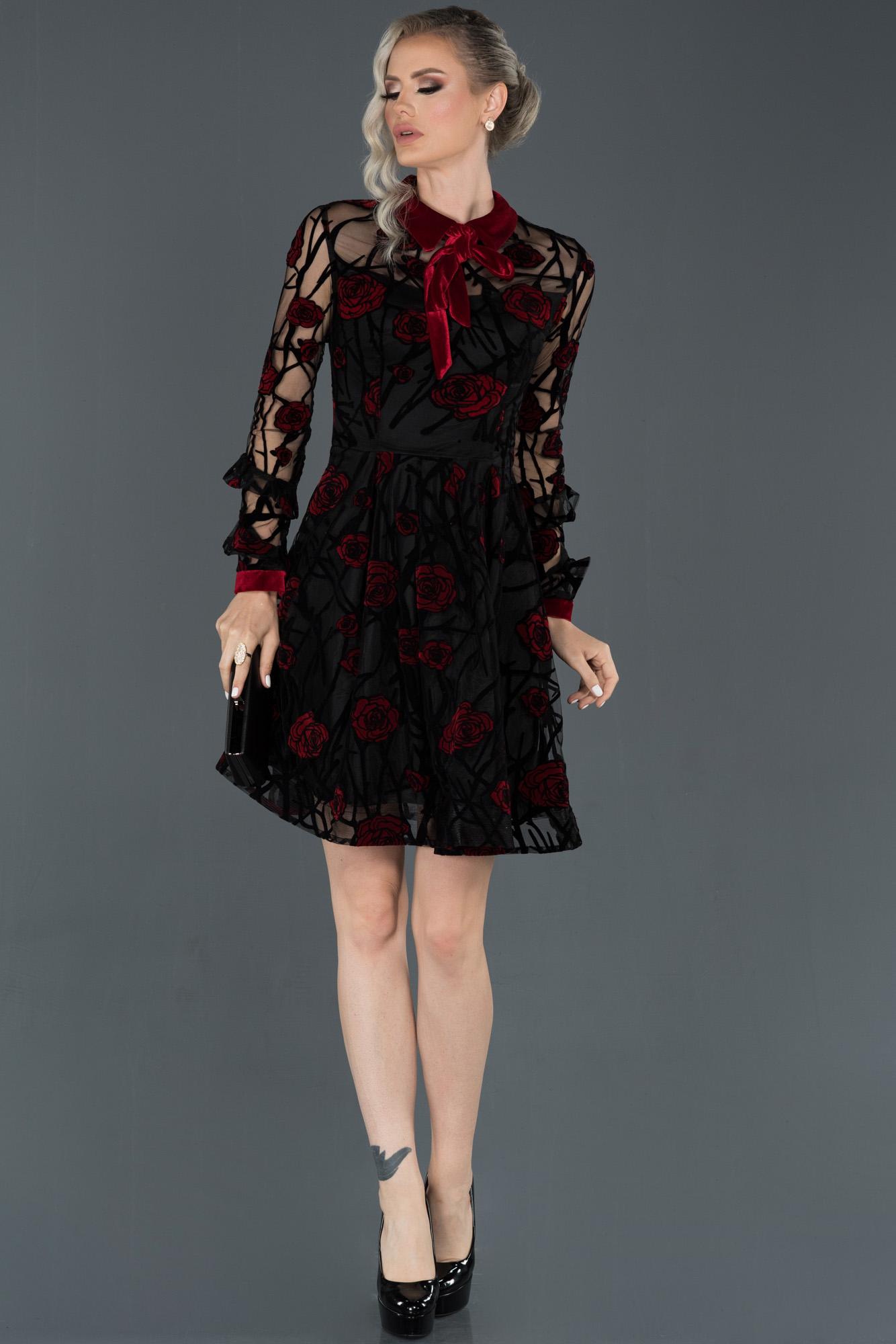 Kırmızı Kendinden Desenli Uzun Kollu Kadife Elbise