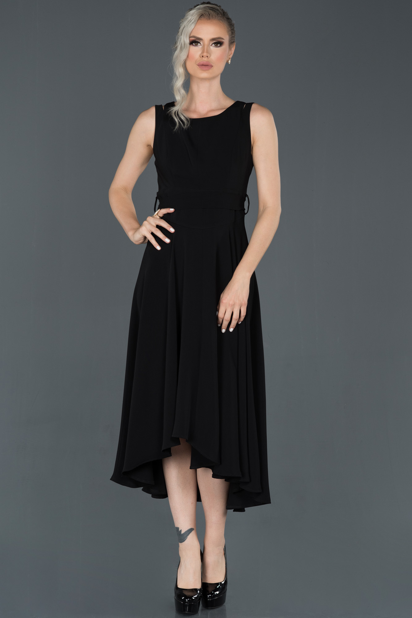 Siyah Uzun Kolsuz Abiye Elbise