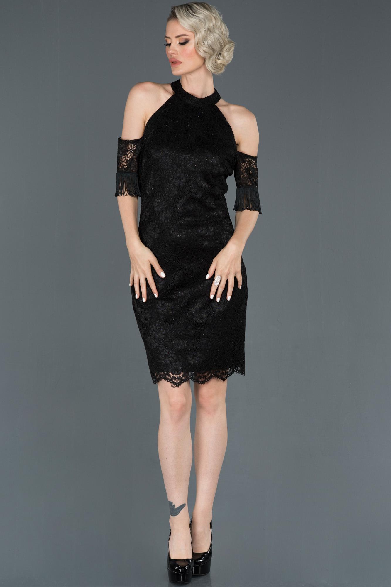 Siyah Omuz Dekolteli Güpürlü Davet Elbisesi