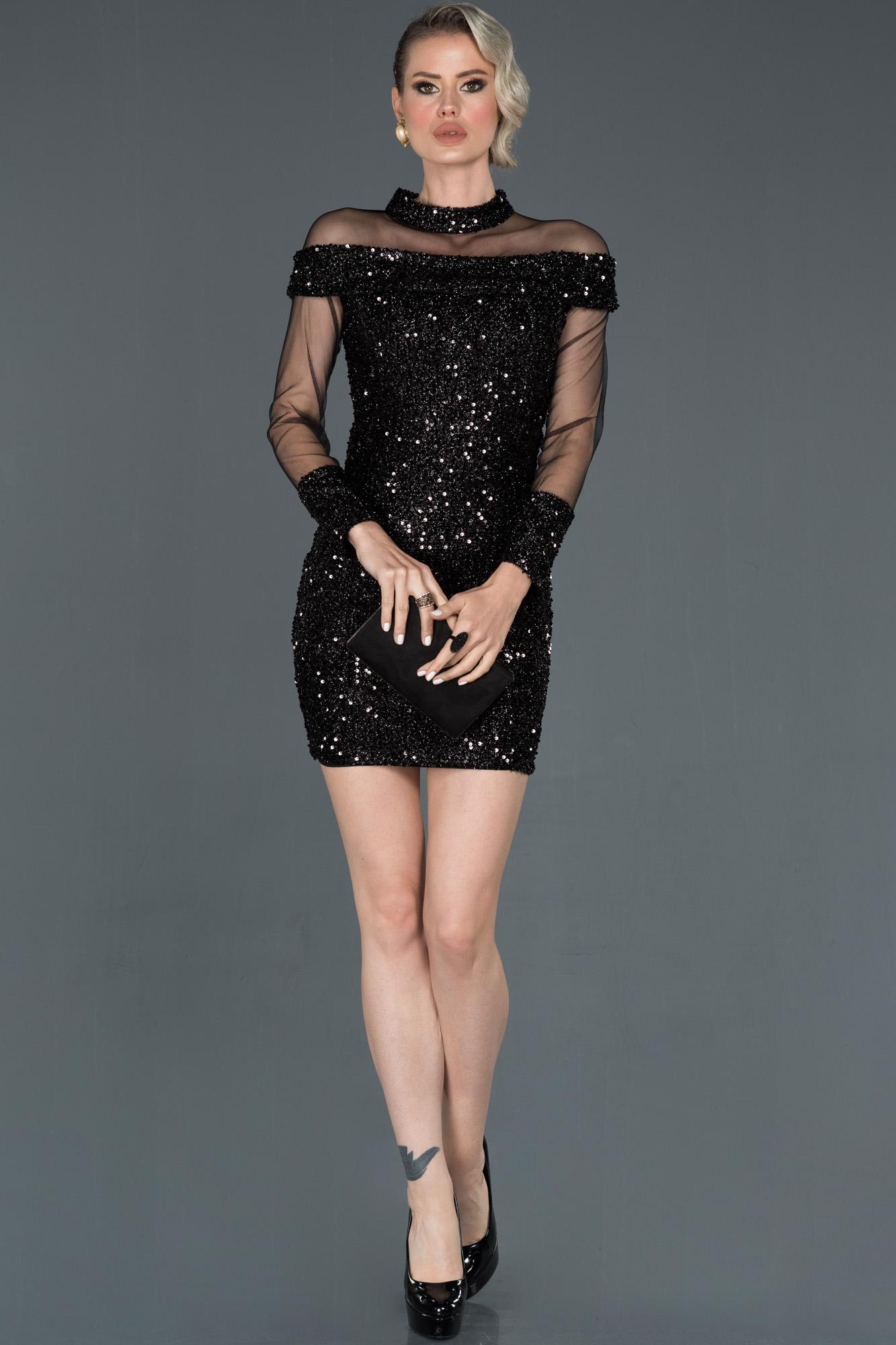 Siyah Mini Tül Detaylı Abiye Elbise