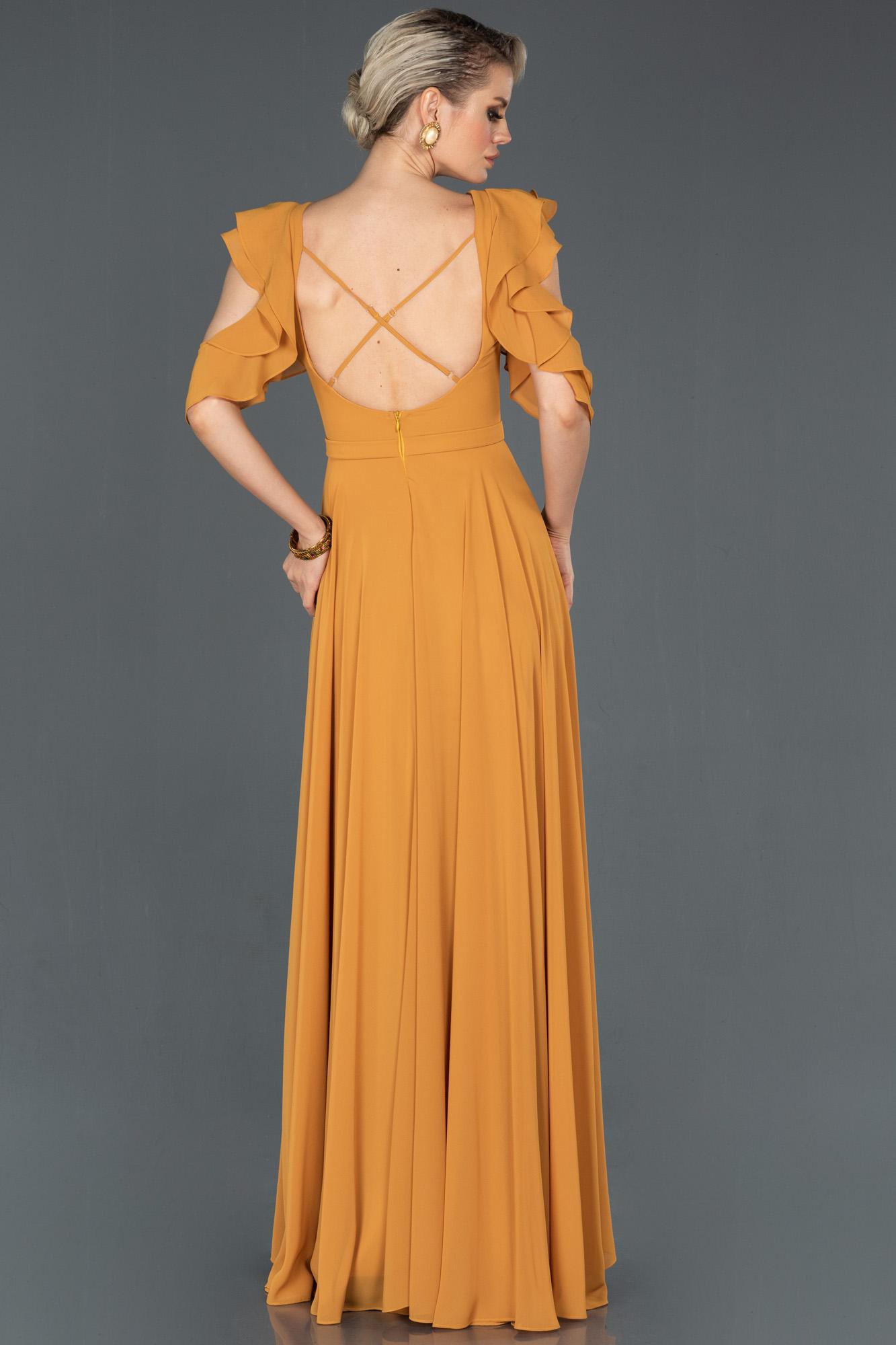 Hardal Uzun Sırt Dekolteli Mezuniyet Elbisesi