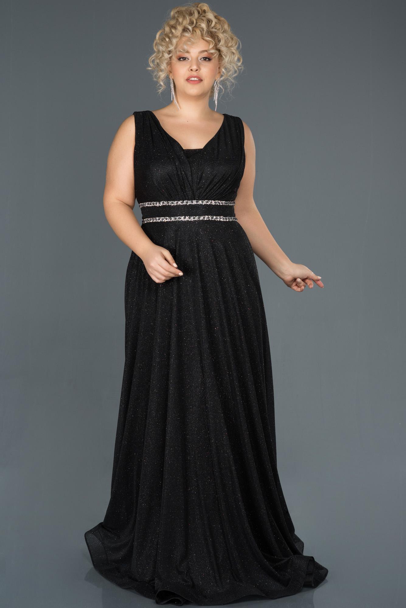 Siyah Uzun Simli Kolsuz Büyük Beden Abiye Elbise