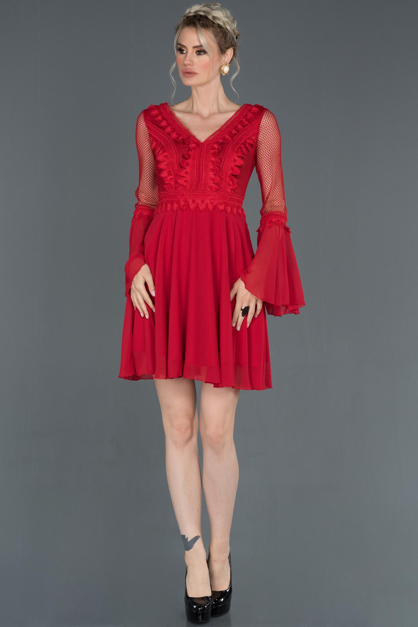 Kırmızı Kısa Ispanyol Kol Davet Elbisesi