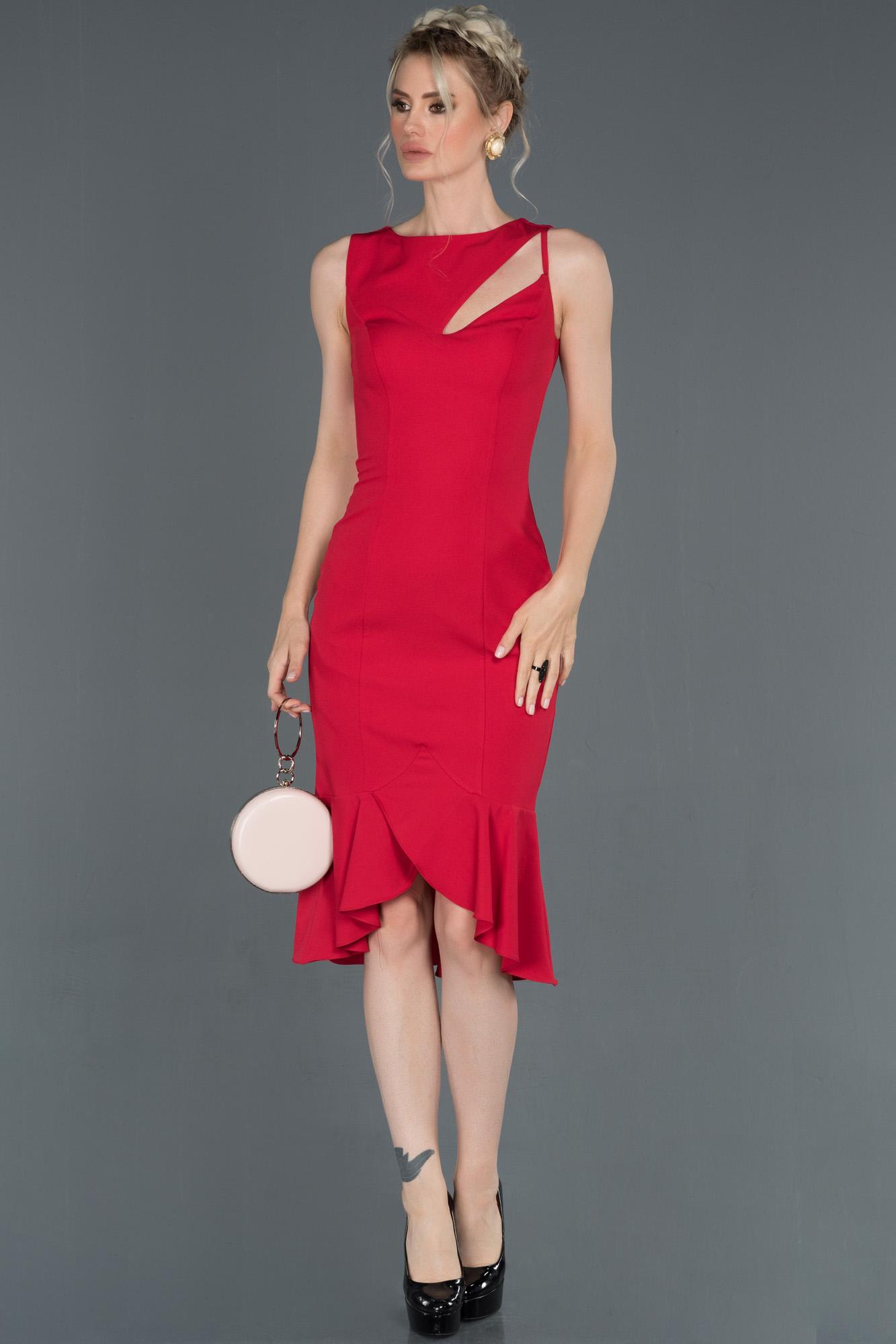 Kırmızı Midi Davet Elbisesi