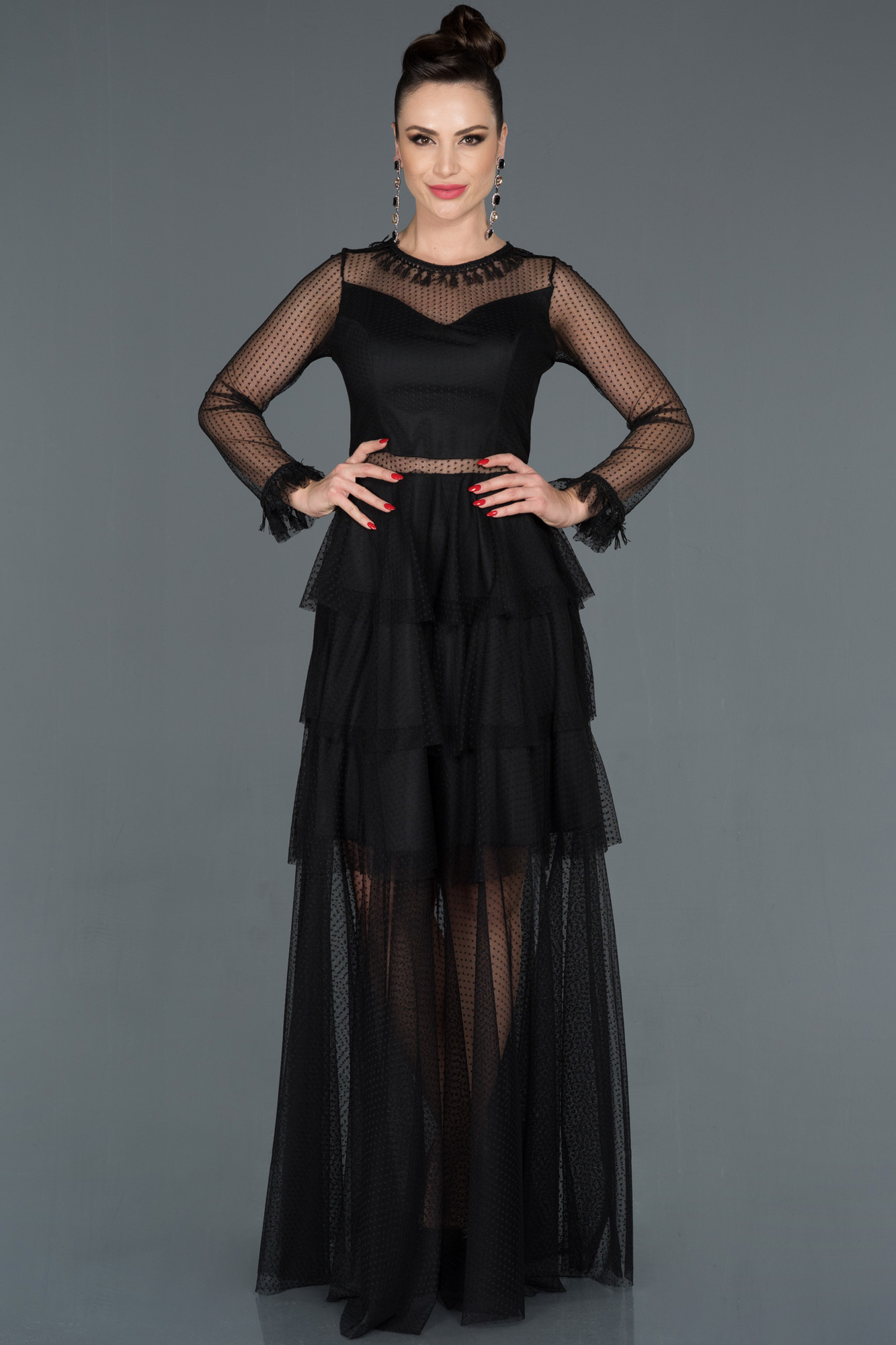 Siyah Transparan Uzun Kollu Tül Abiye Elbise