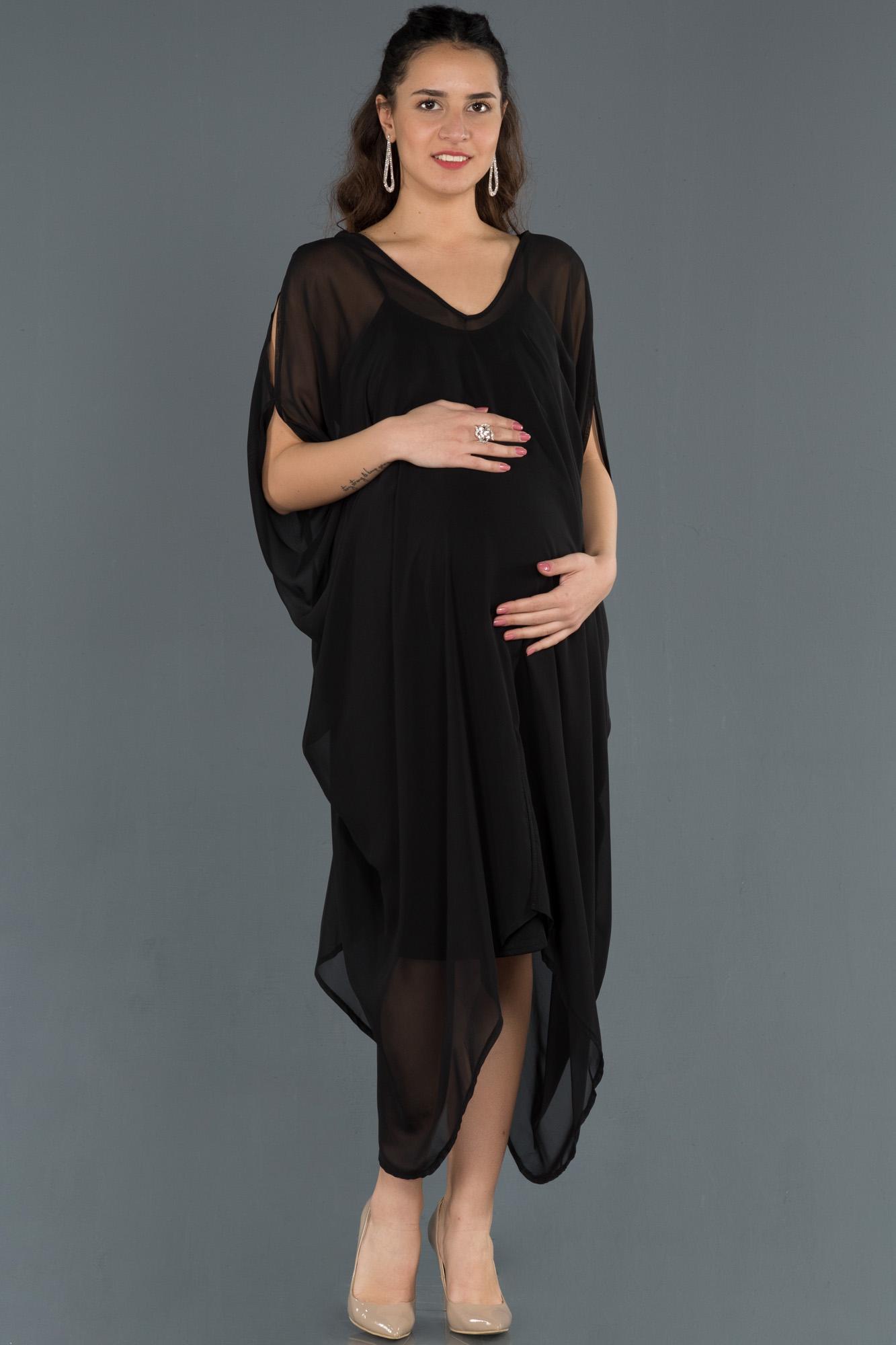 Siyah Bohem Şifon Hamile Abiye Elbise