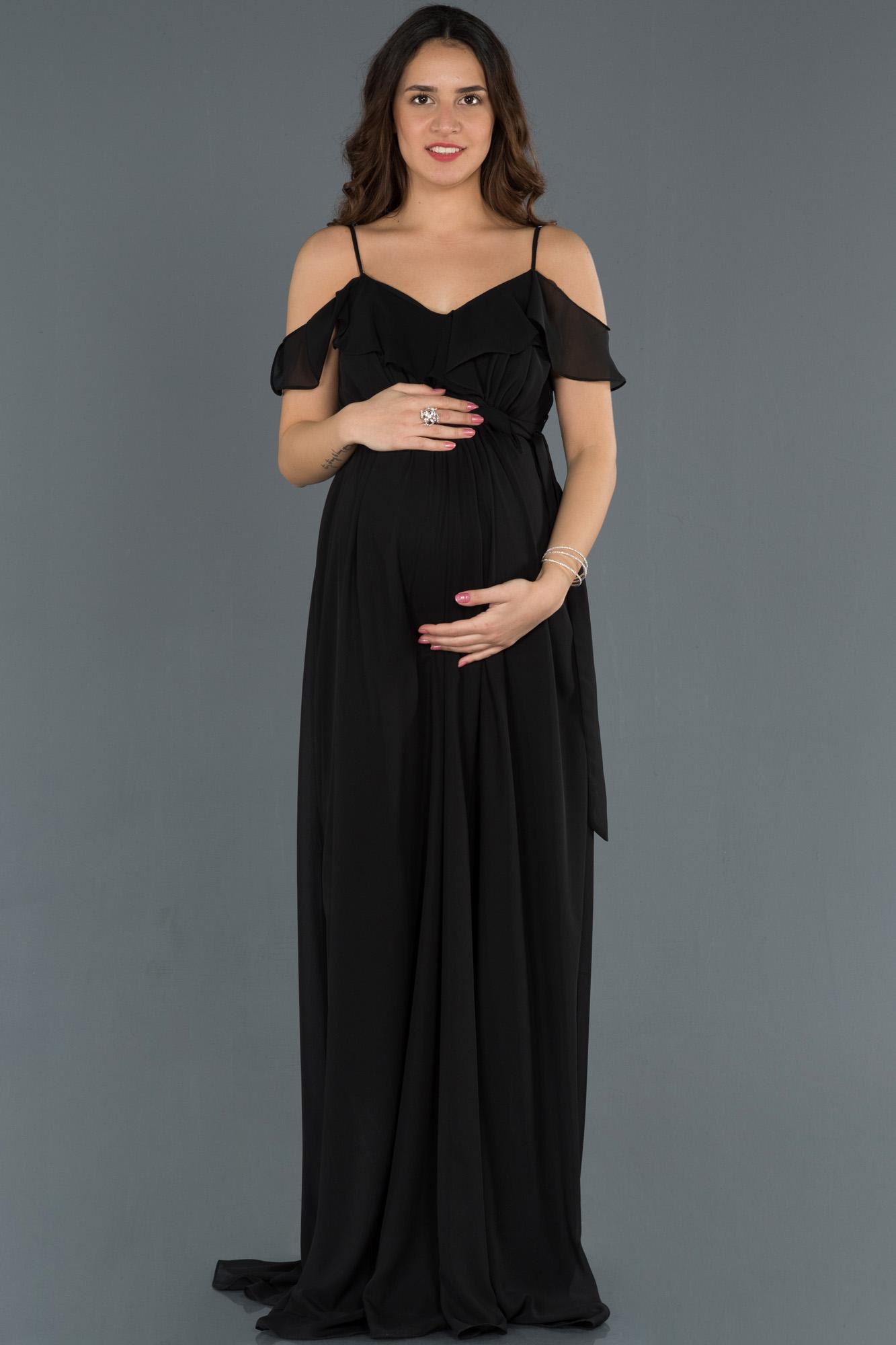 Siyah Yakası Volanlı Hamile Abiye Elbise