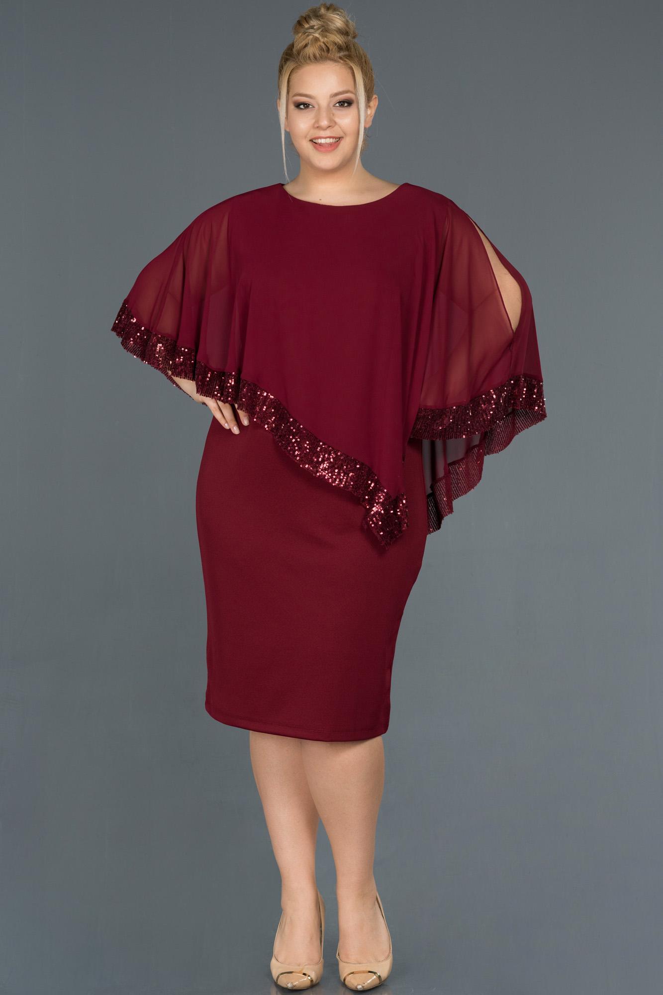 Bordo Kısa Panço Detaylı Büyük Beden Elbise