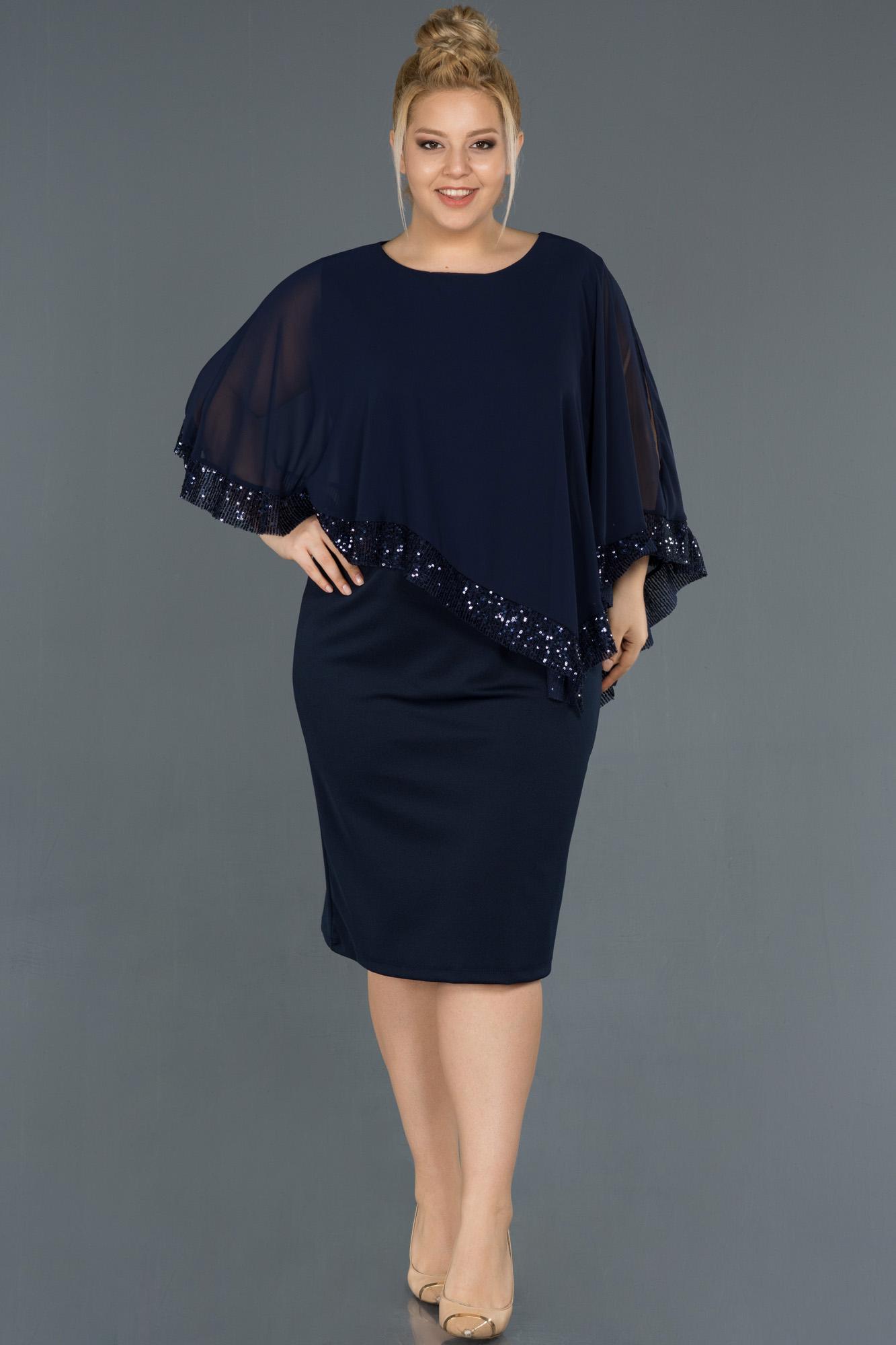Lacivert Kısa Panço Detaylı Büyük Beden Elbise