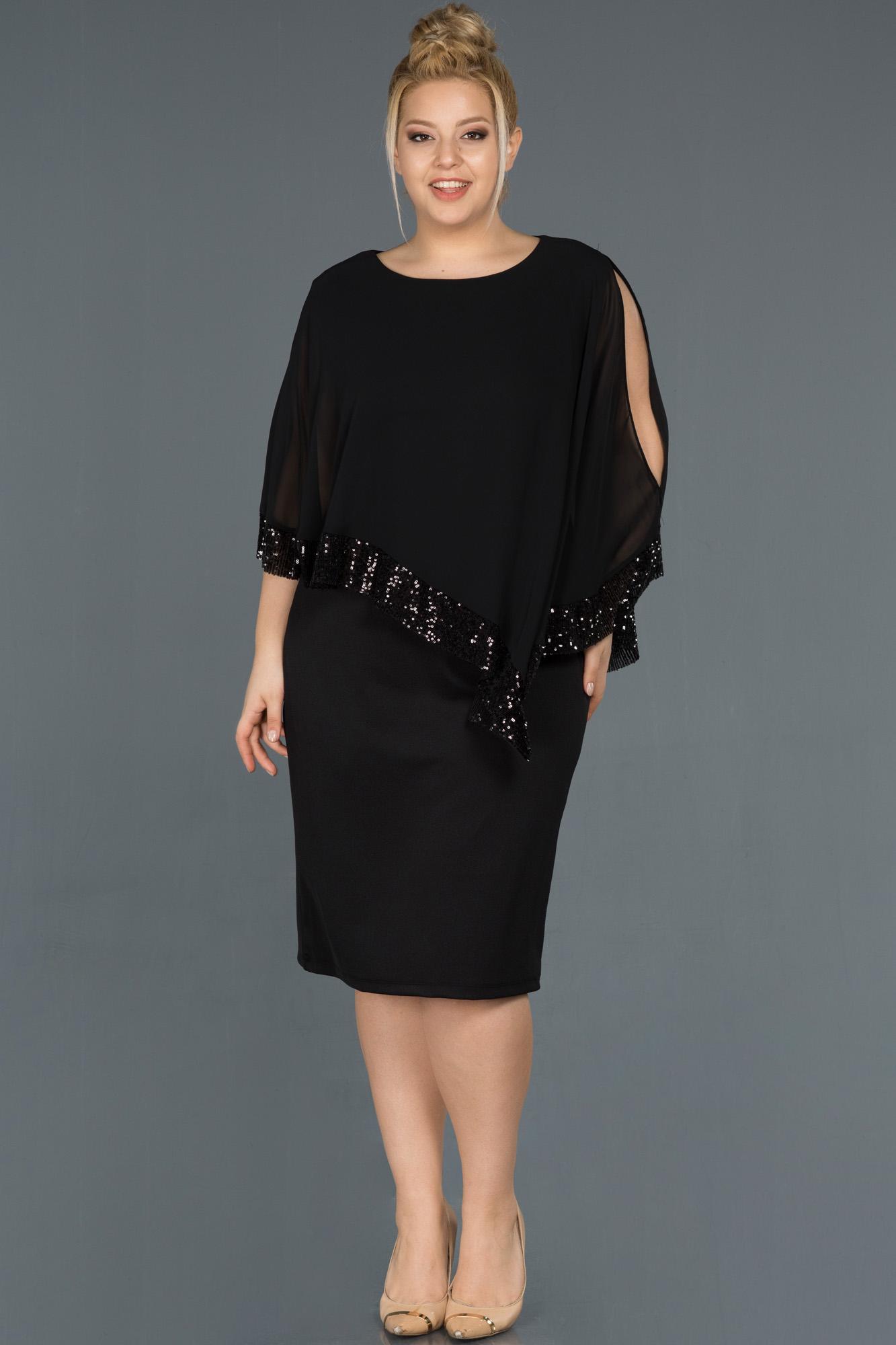 Siyah Kısa Panço Detaylı Büyük Beden Elbise
