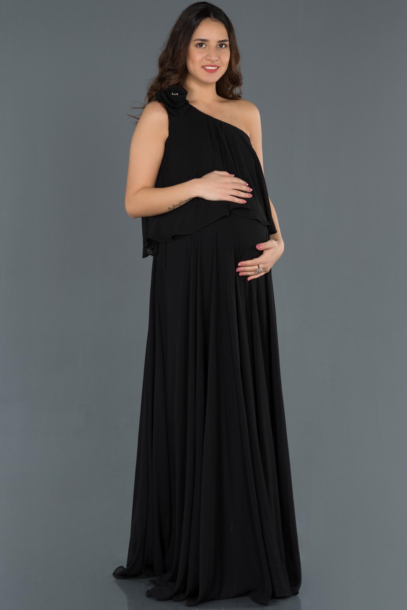 Siyah Uzun Tek Omuz Hamile Abiye