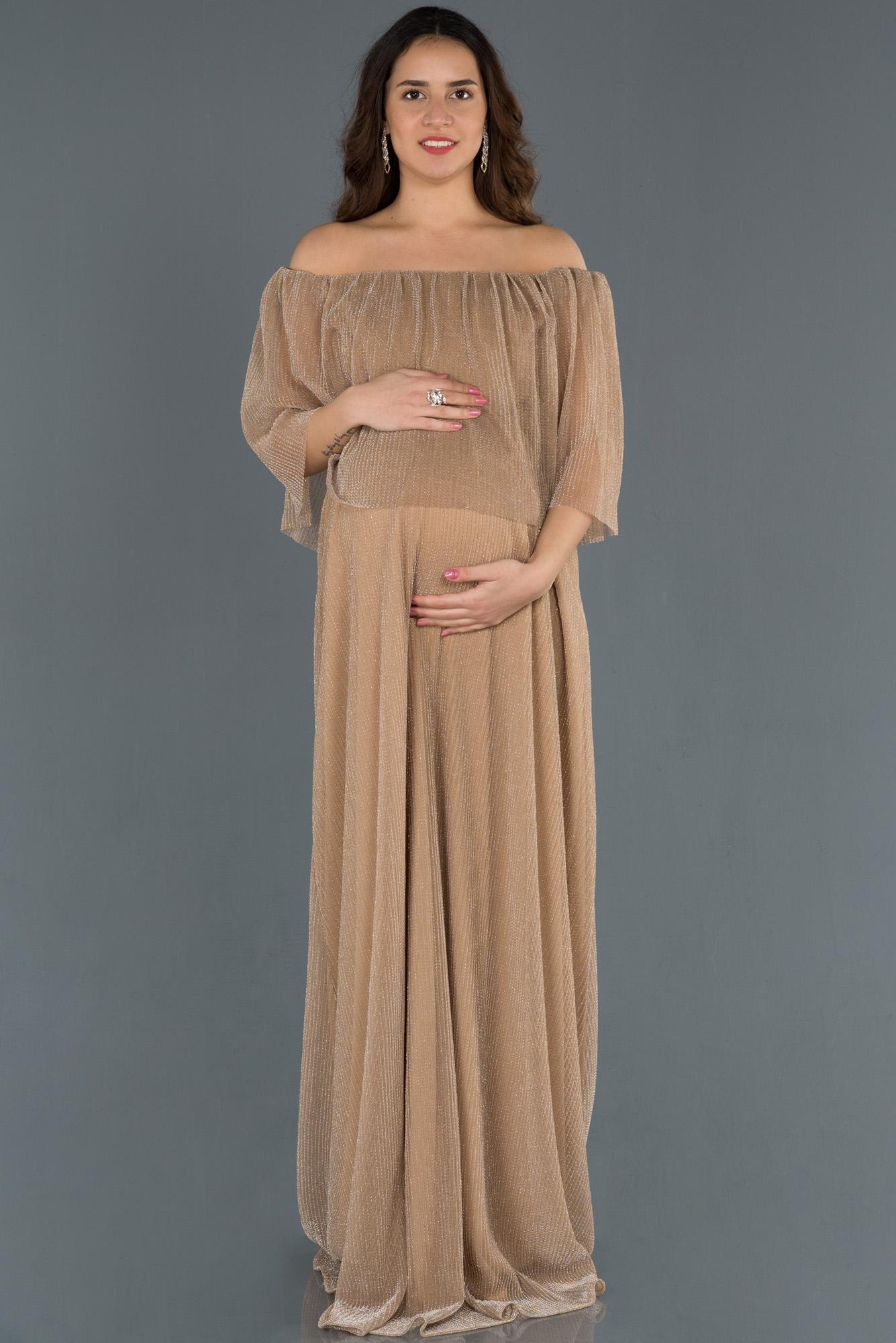 Gold Kayık Yaka Simli Hamile Abiye Elbise