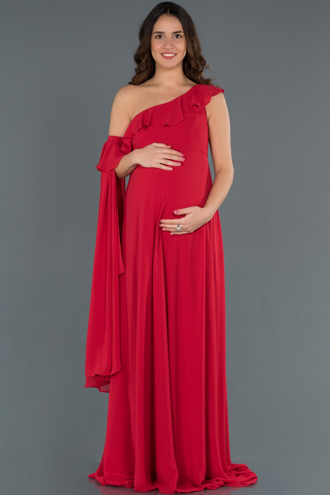 Kırmızı Tek Omuz Hamile Abiye Elbise