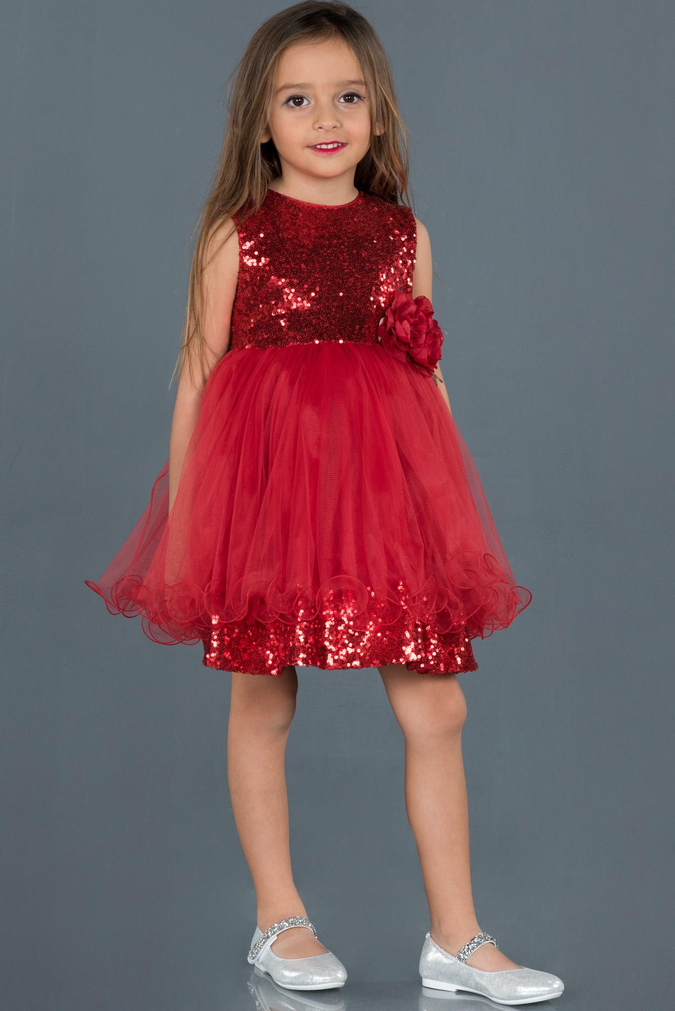 Kırmızı Kısa Pul Işlemeli Tül Detaylı Çocuk Abiye
