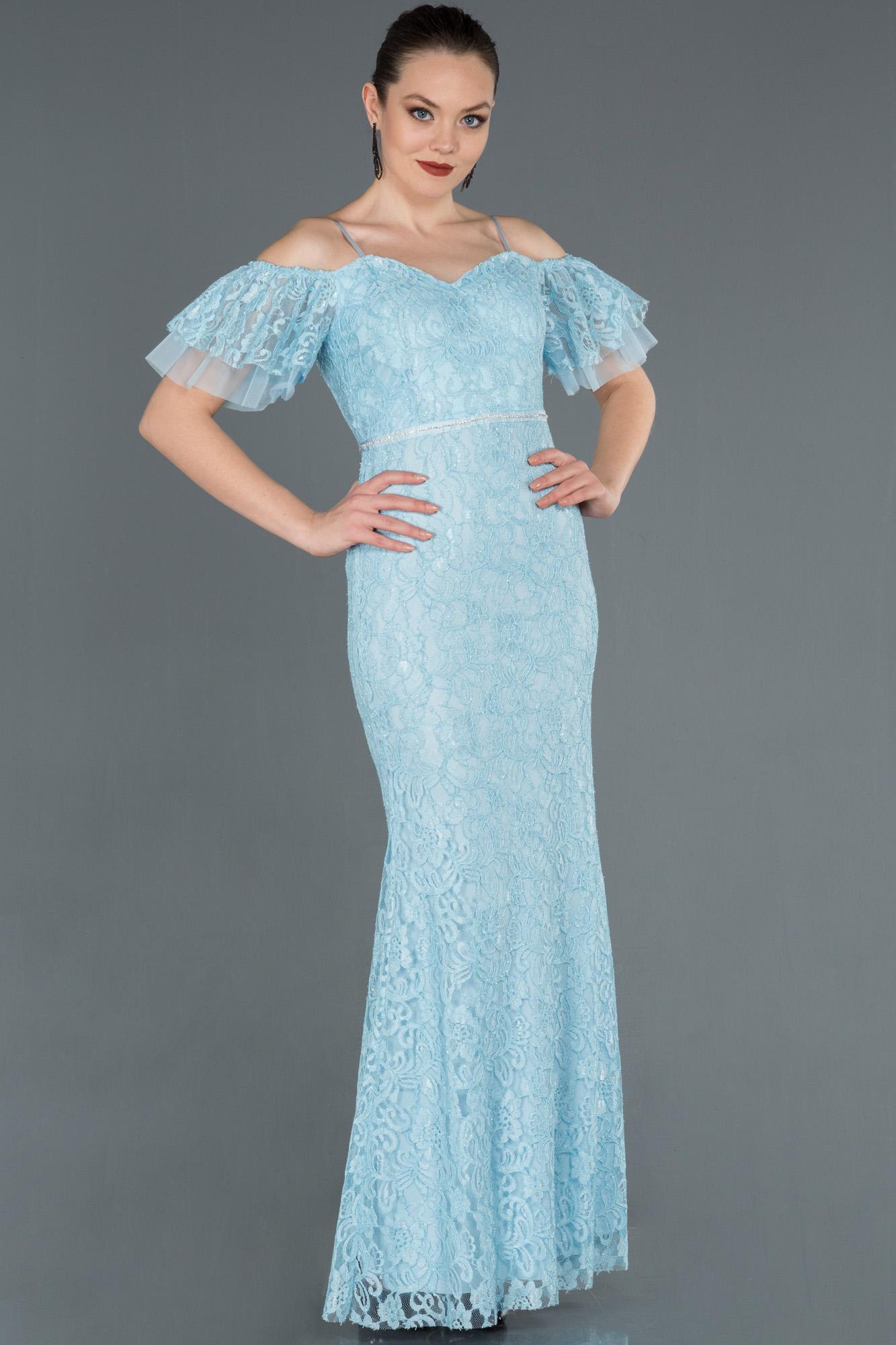 Buz Mavisi Uzun Güpürlü Kol Detaylı Abiye Elbise