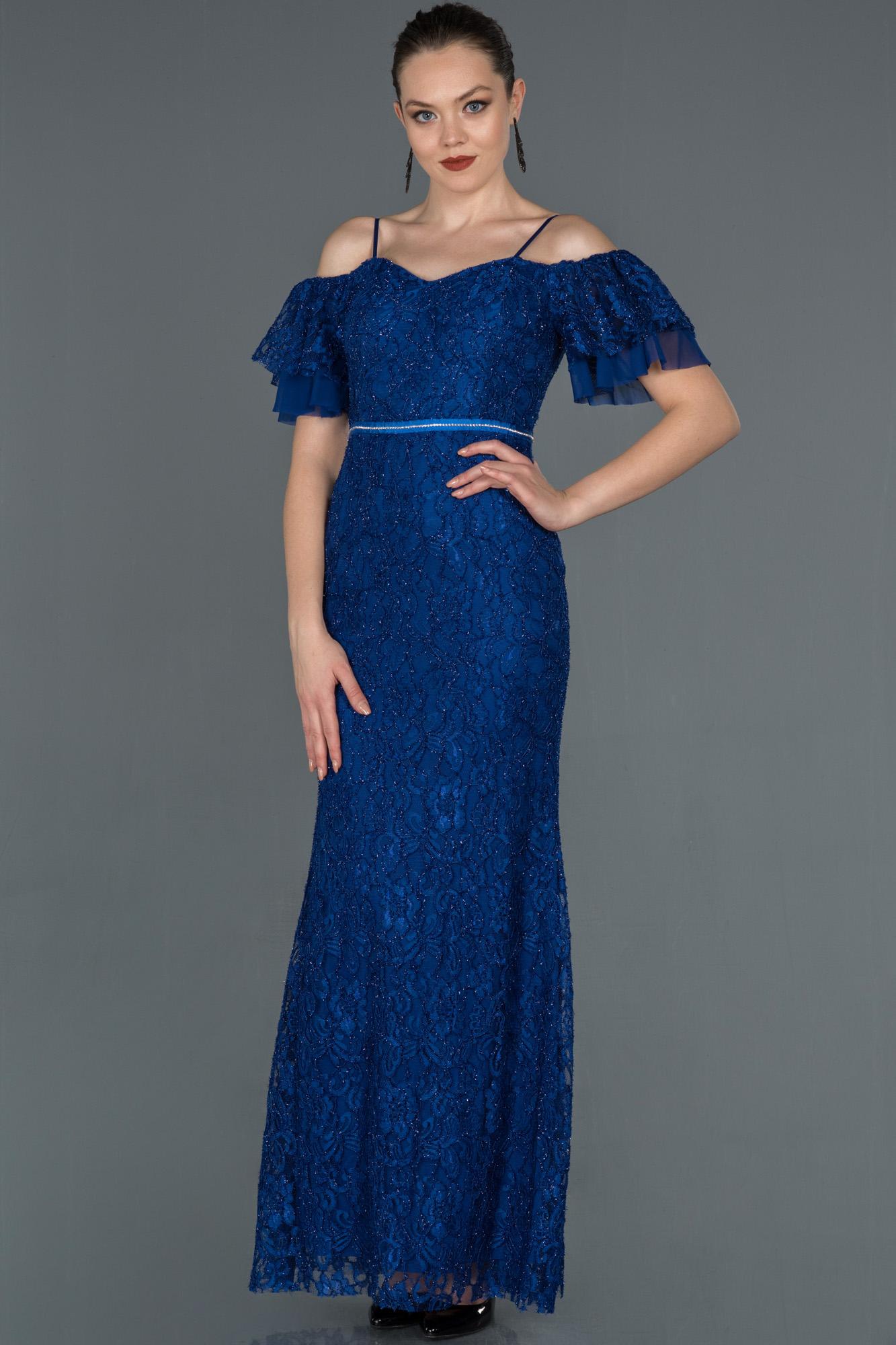 Saks Mavi Uzun Güpürlü Kol Detaylı Abiye Elbise