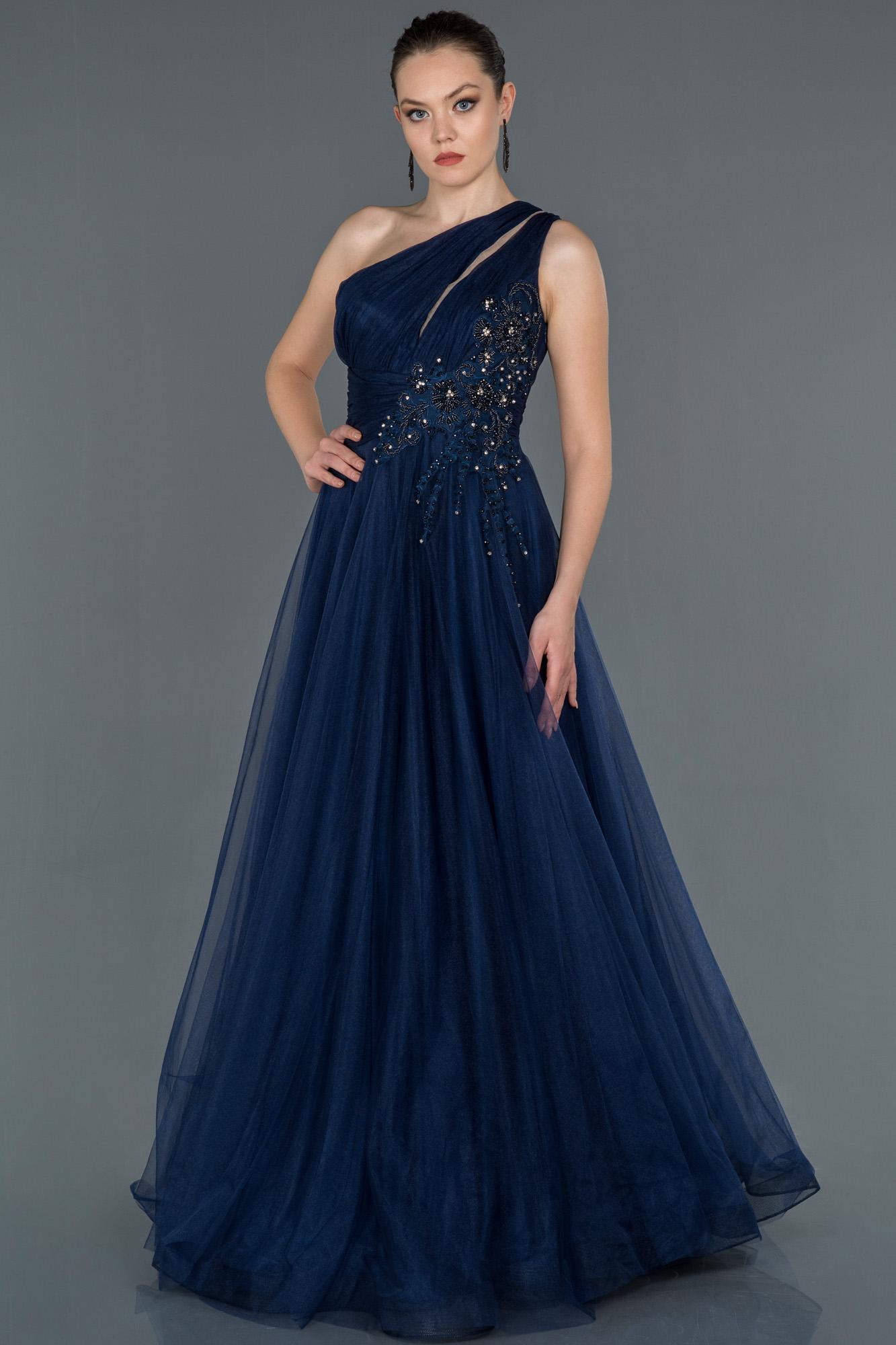 Lacivert Taş Işlemeli Prenses Abiye Elbise