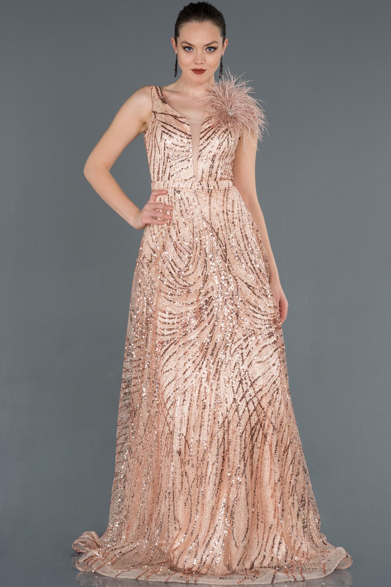 Pudra Uzun Otriş Detaylı Pullu Abiye Elbise