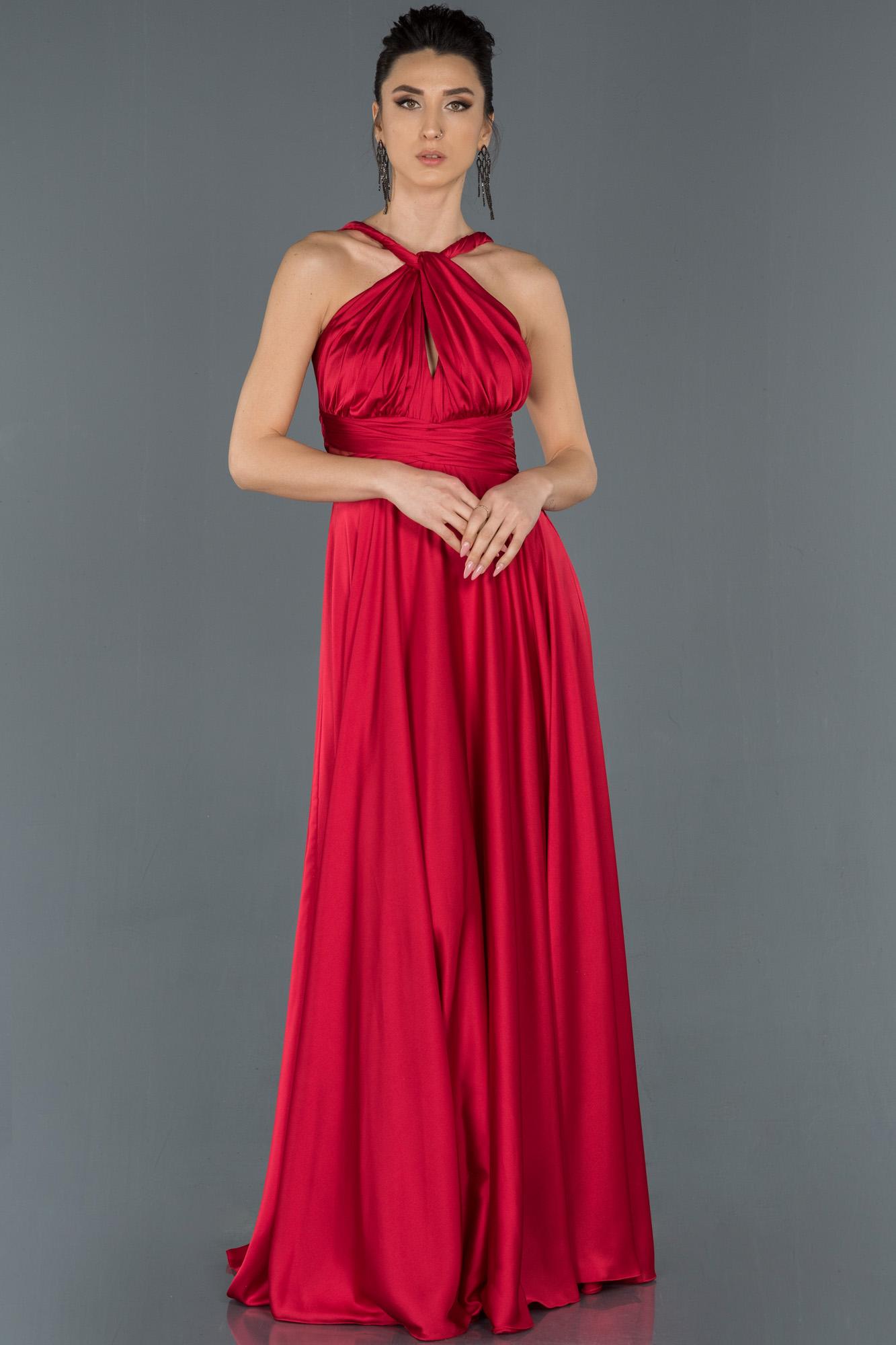 Kırmızı Uzun Göğüs Detaylı Abiye Elbise