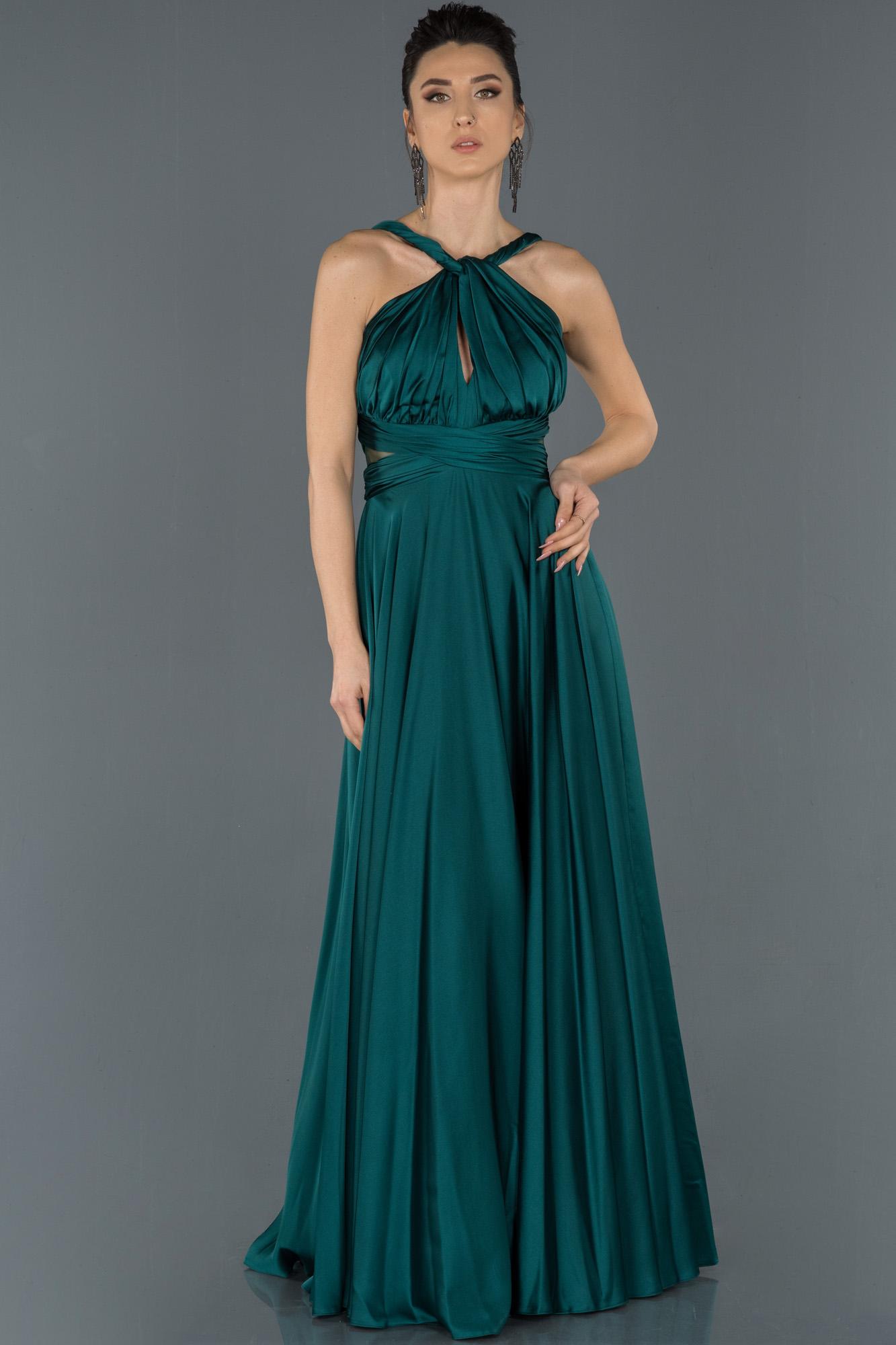 Zümrüt Yeşili Uzun Göğüs Detaylı Abiye Elbise