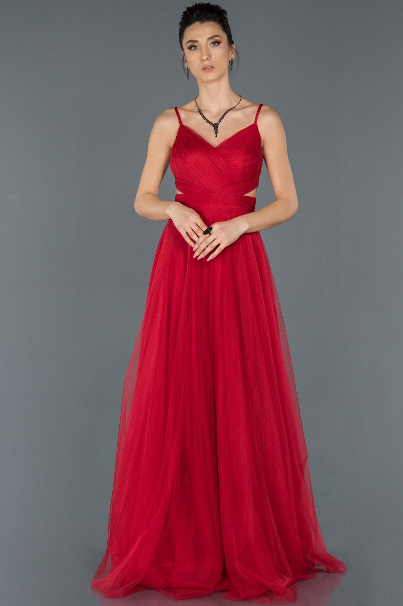Kırmızı Uzun Ip Askılı Tüllü Abiye Elbise