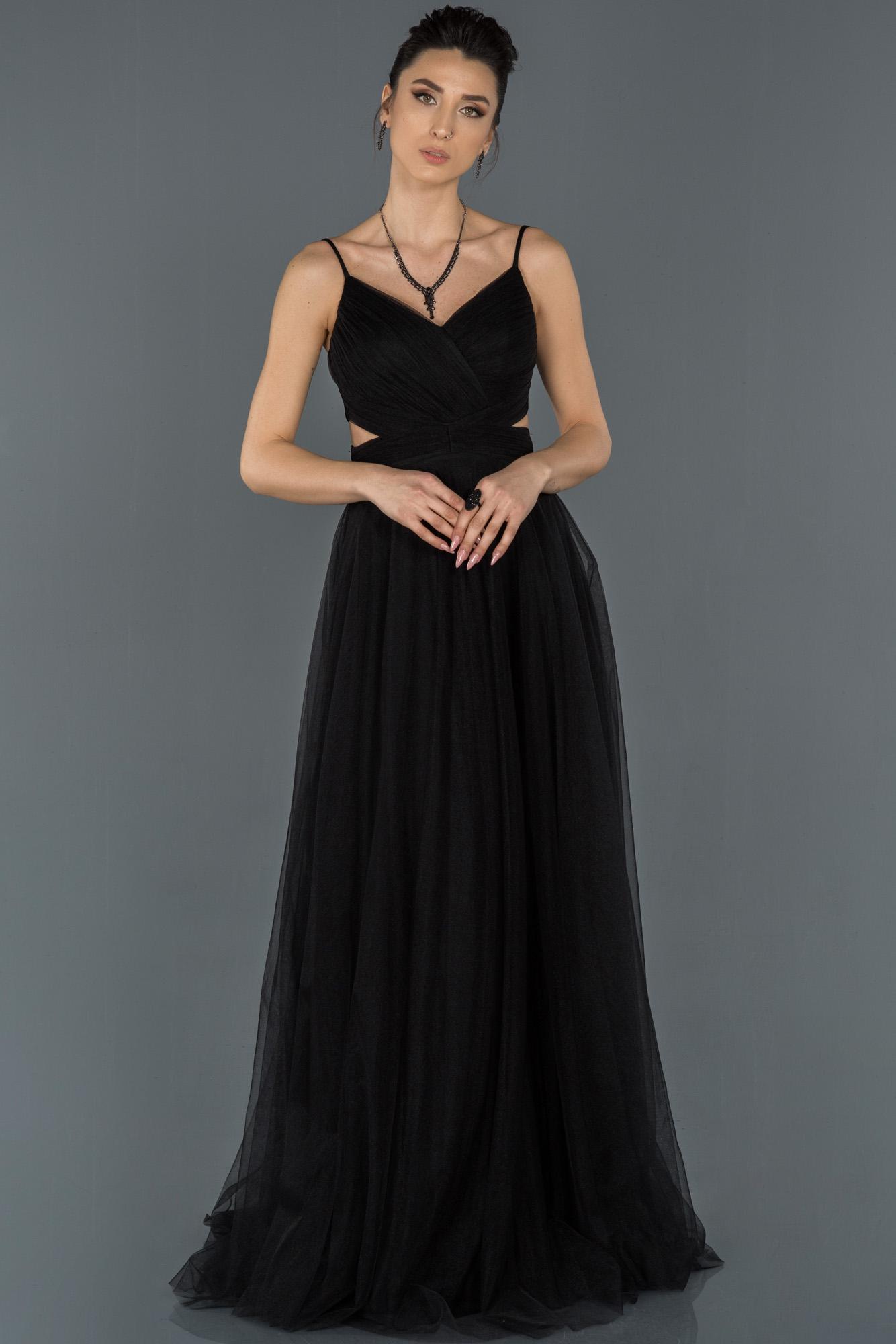 Siyah Uzun Ip Askılı Tüllü Abiye Elbise