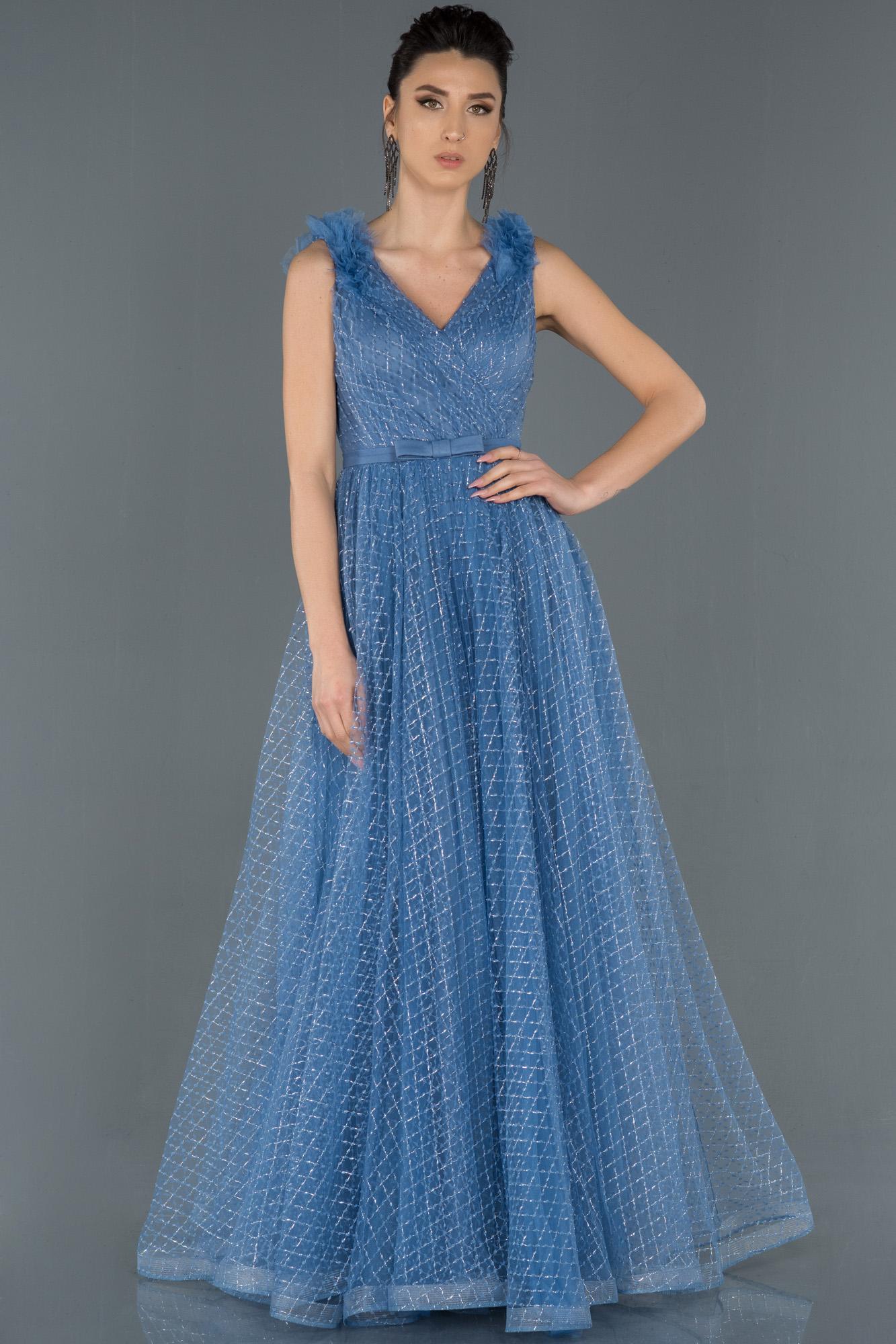 Indigo V Yaka Sim Detaylı Prenses Abiye Elbise