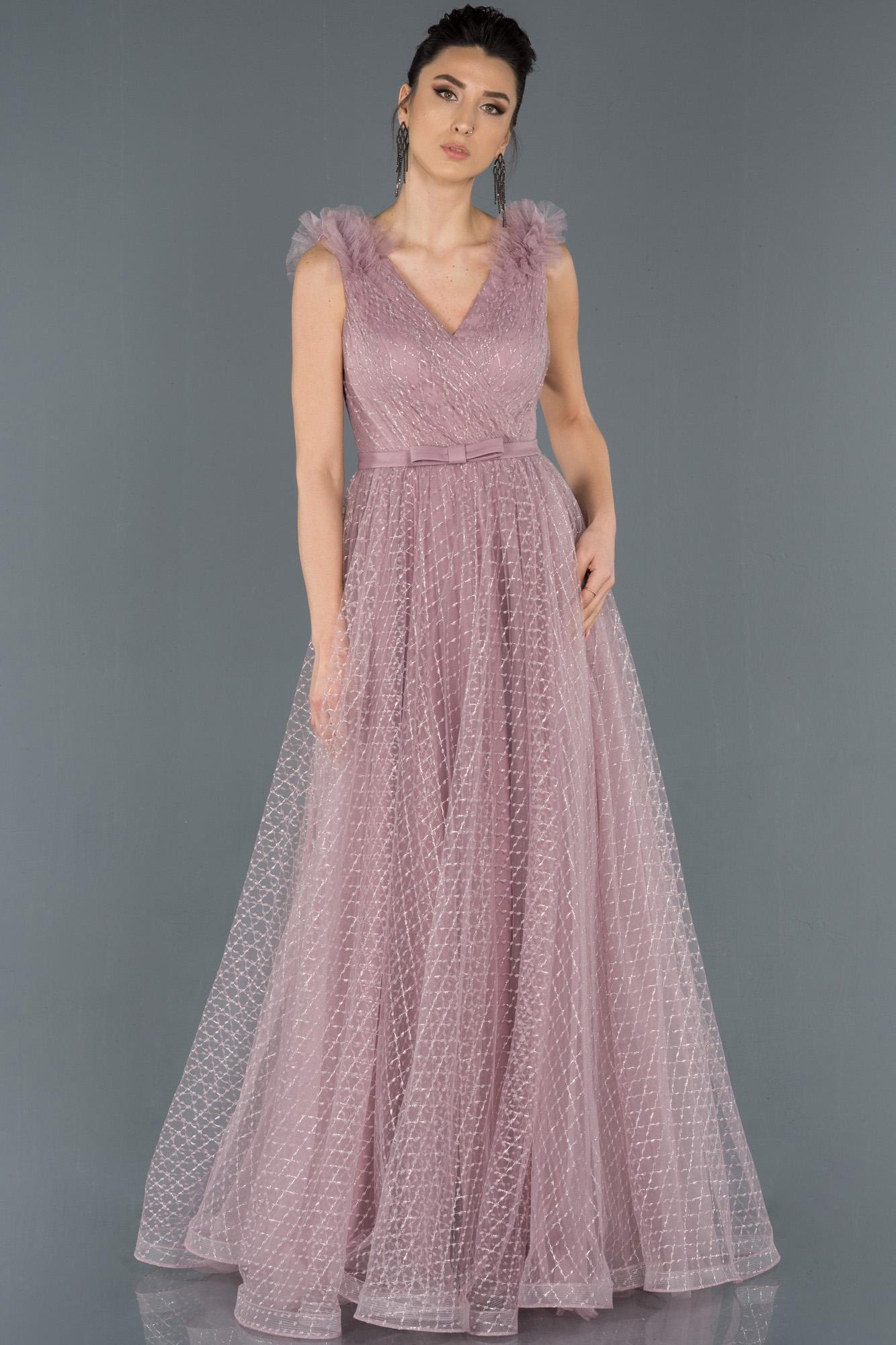 Pudra V Yaka Sim Detaylı Prenses Abiye Elbise