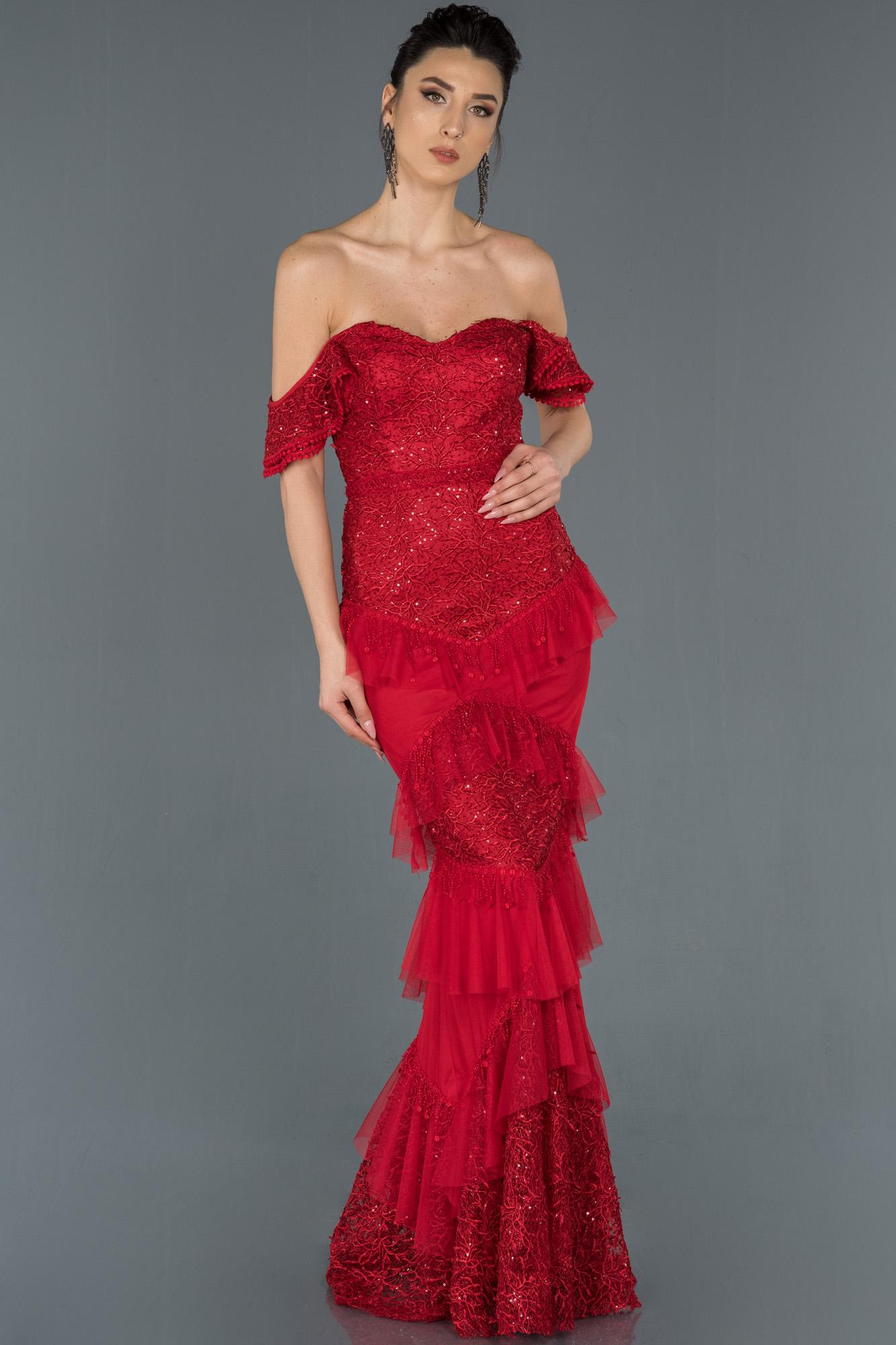 Kırmızı Uzun Güpürlü Omuz Dekolteli Balık Abiye Elbise
