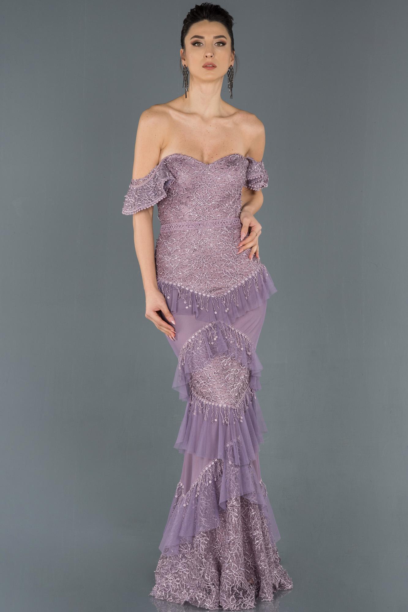 Lavanta Uzun Güpürlü Omuz Dekolteli Balık Abiye Elbise