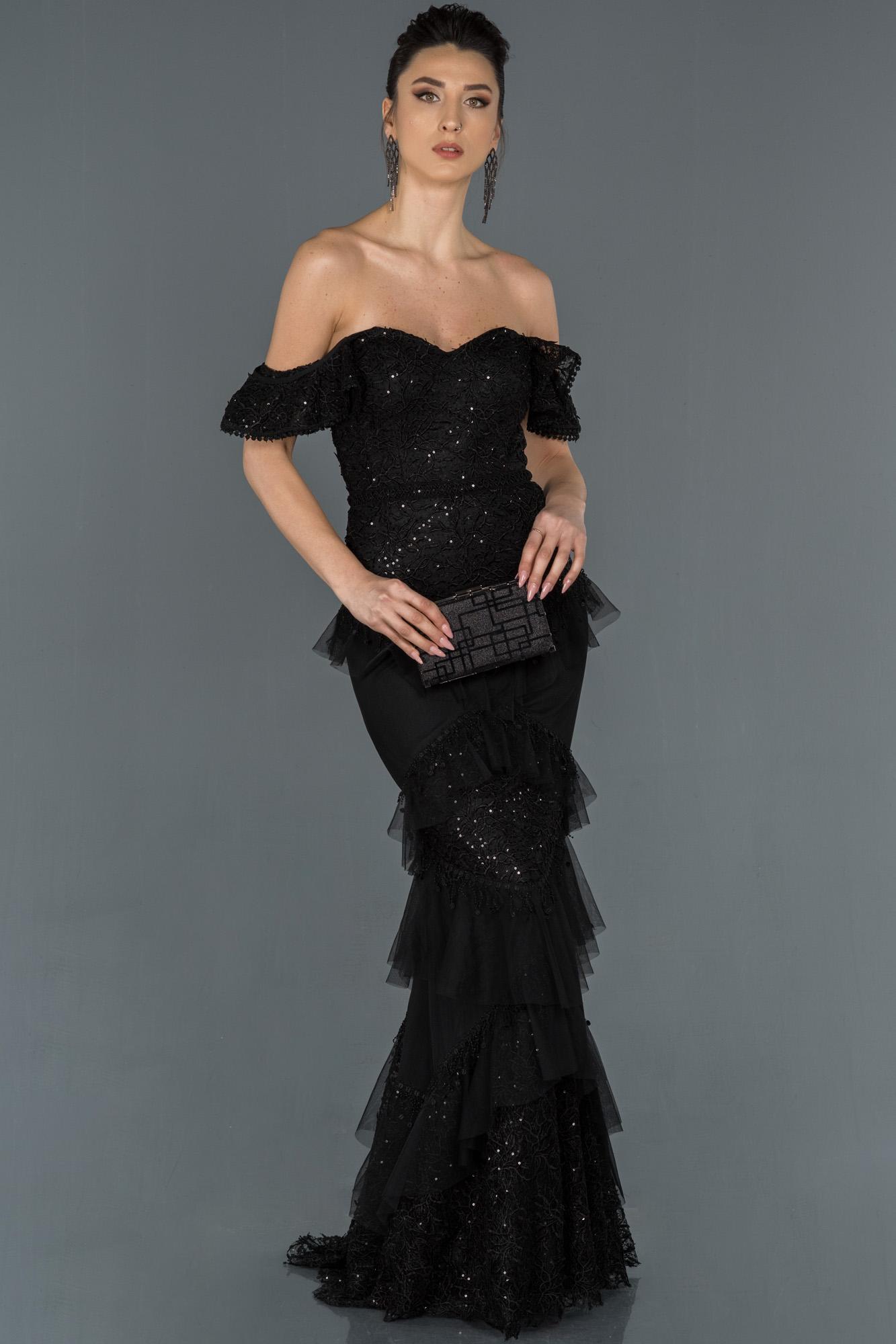 Siyah Uzun Güpürlü Omuz Dekolteli Balık Abiye Elbise