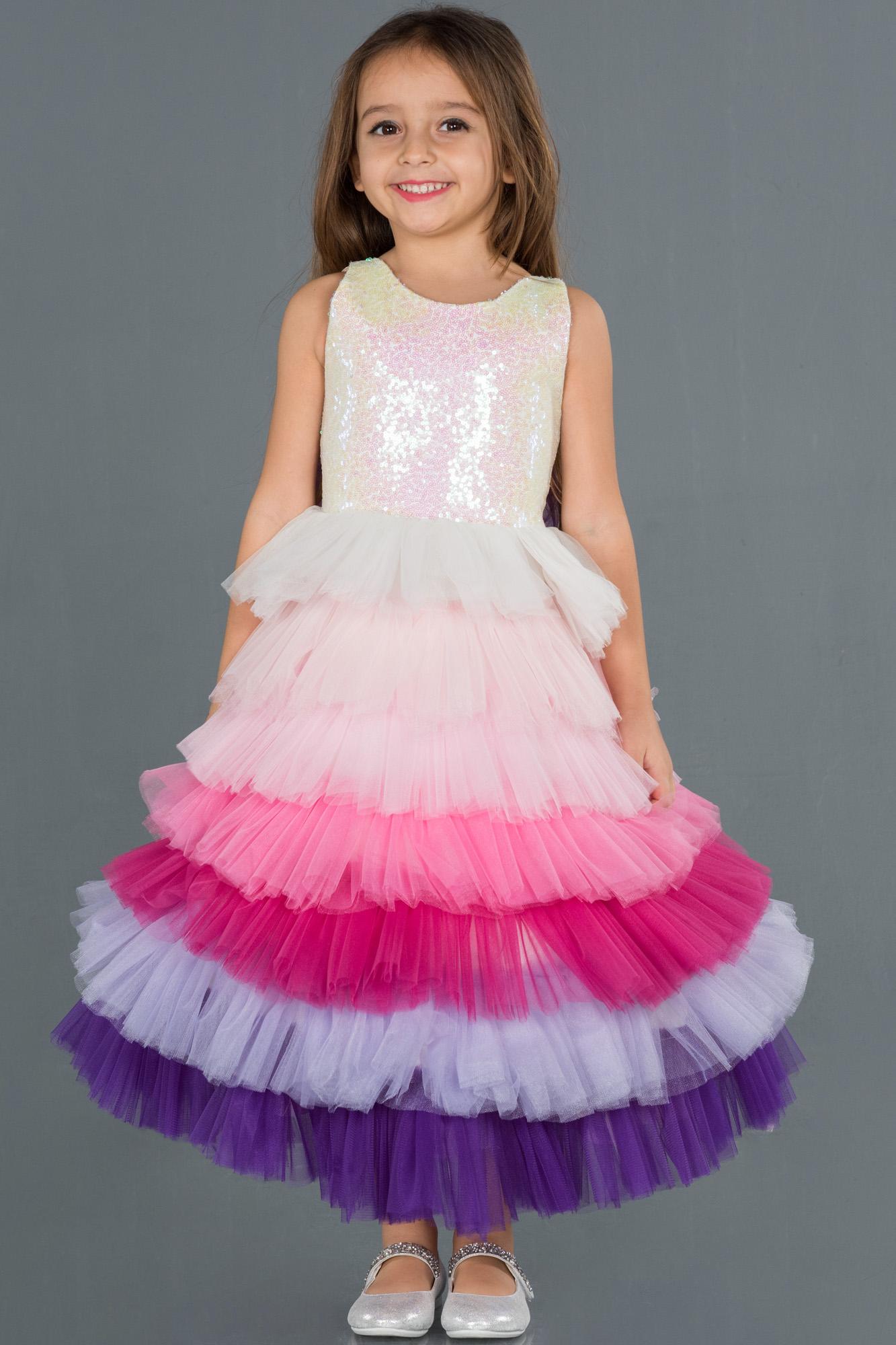 Rins Etekleri Katlı Çocuk Abiye Elbise