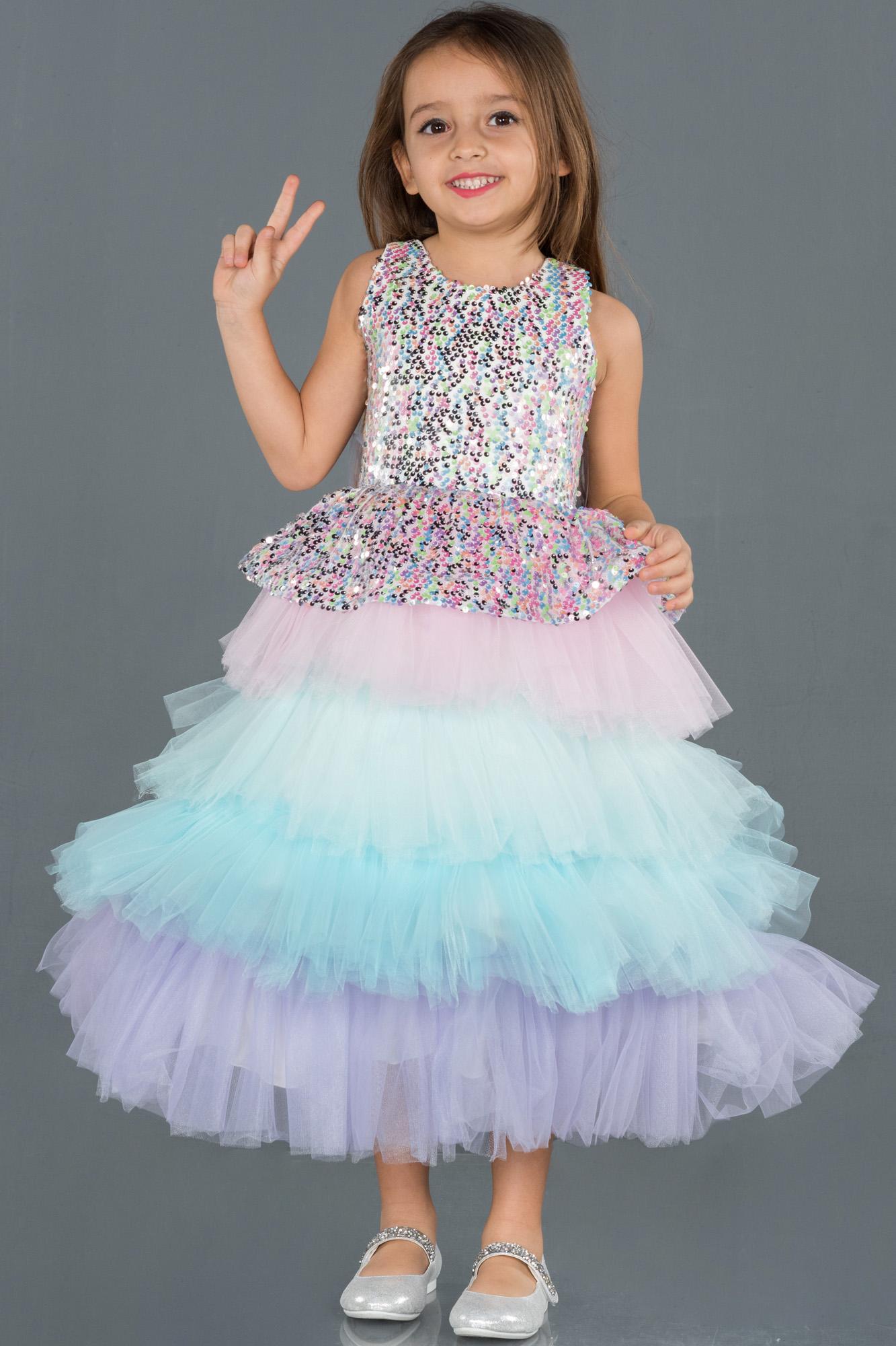 Rins Pul Detaylı Çocuk Abiye Elbise