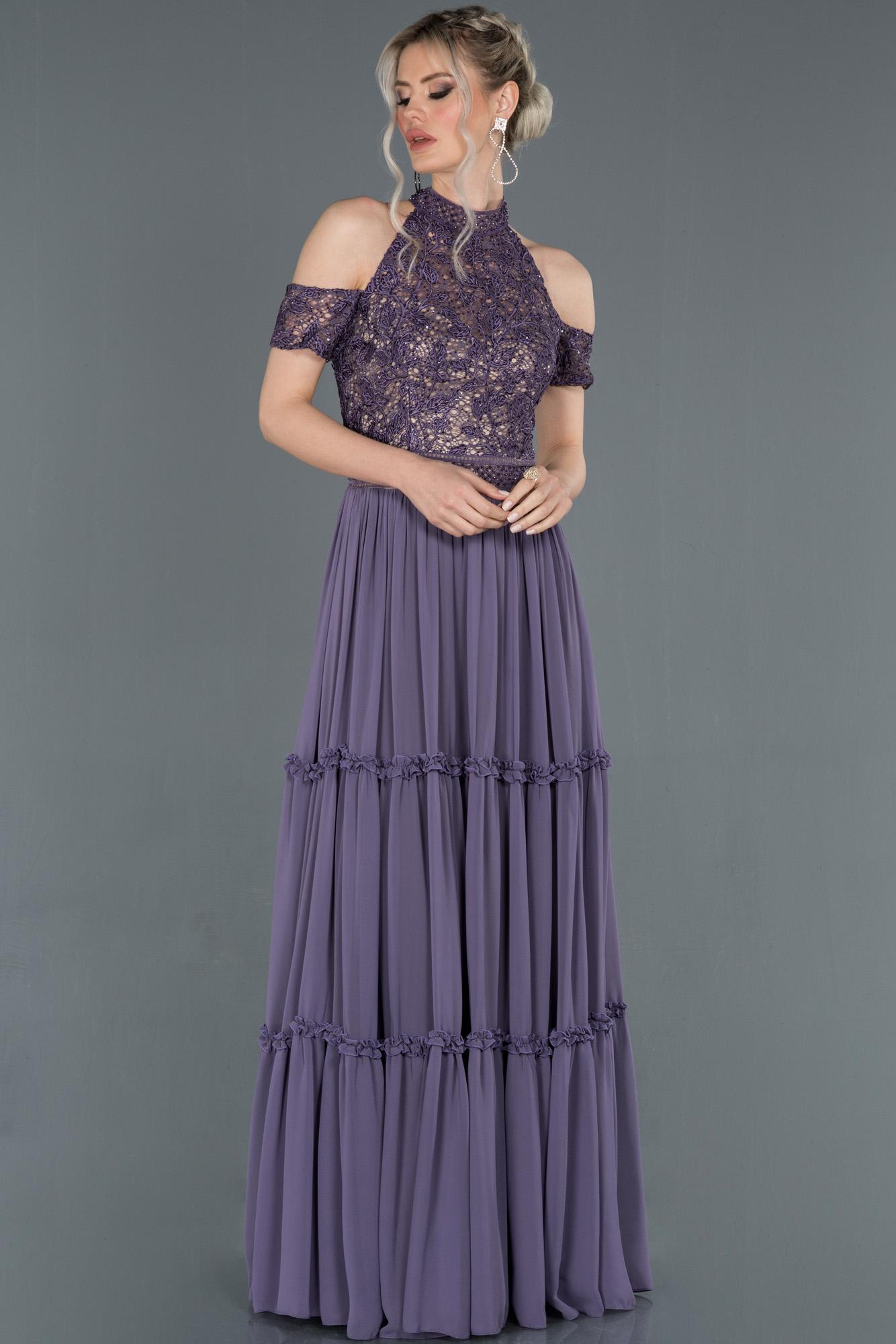 Ametist Işleme Detaylı Özel Tasarım Şifon Abiye Elbise