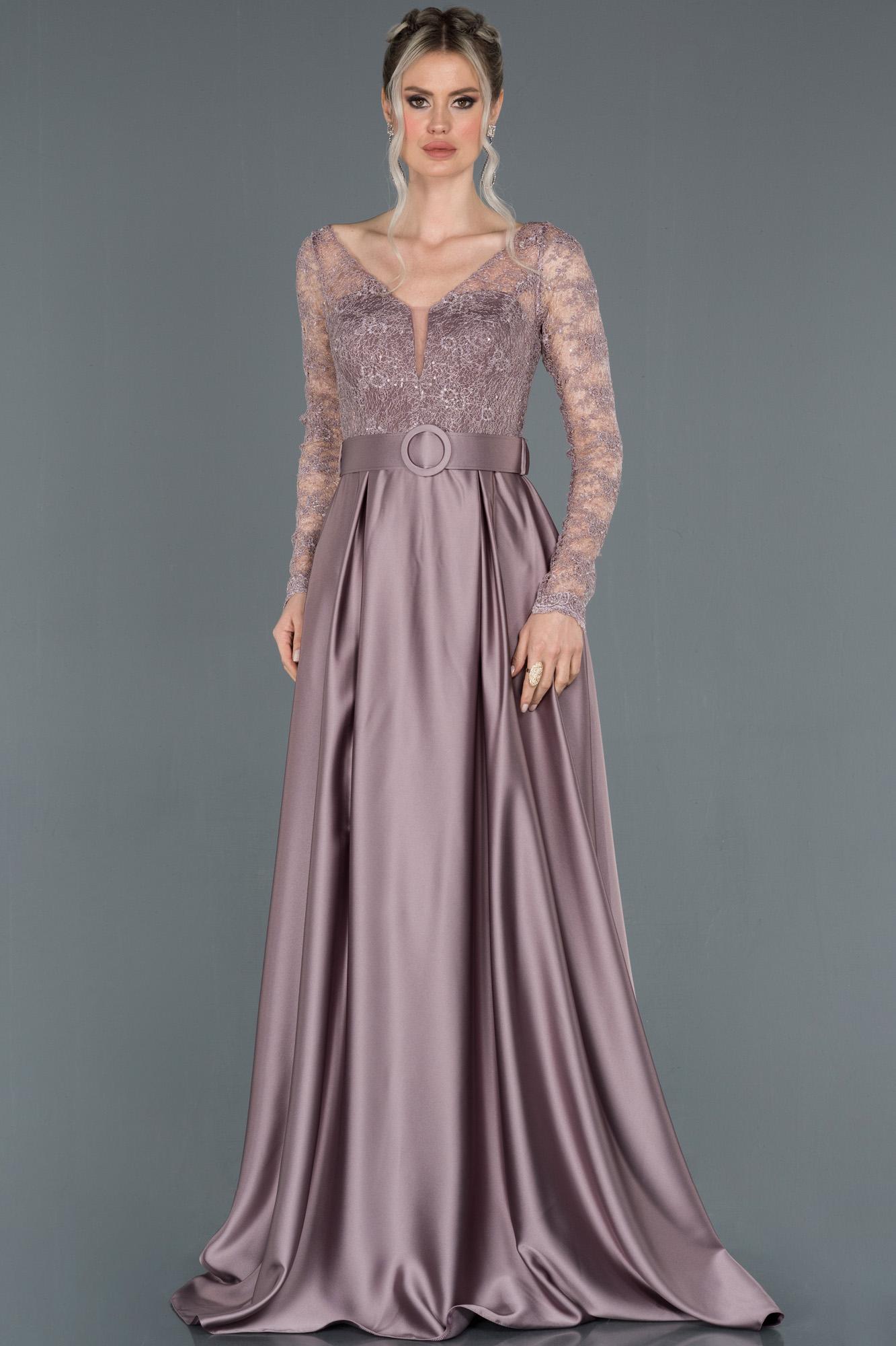 Lavanta Transparan Kol Kemerli Saten Abiye Elbise