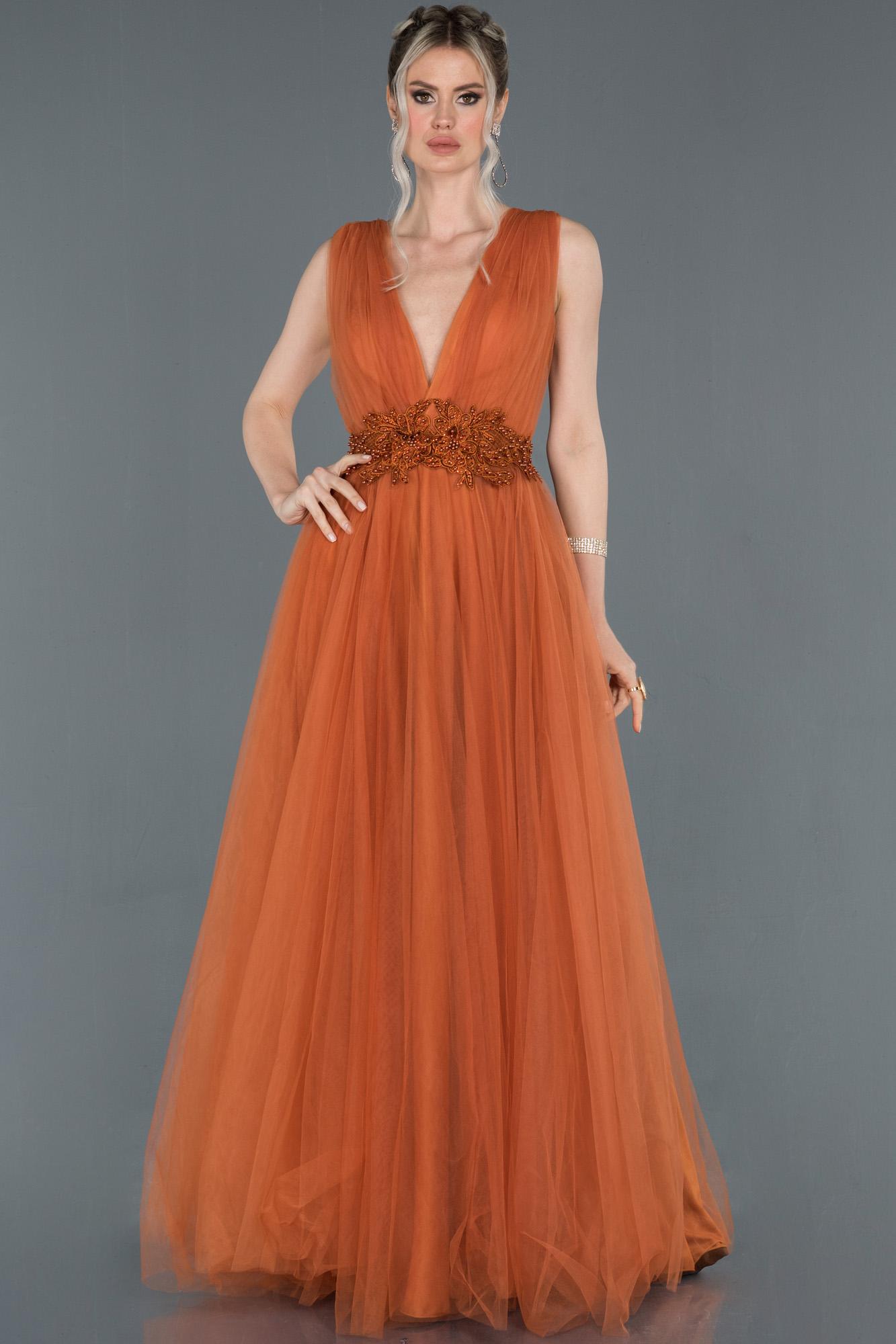 Orange Uzun Göğüs Dekolteli Tül Abiye Elbise
