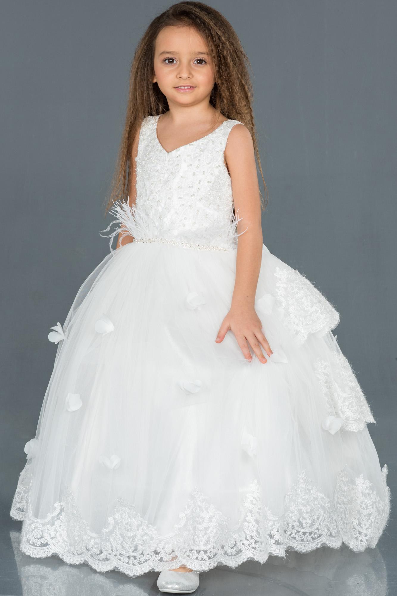 Krem Otriş Detaylı Prenses Model Çocuk Abiye