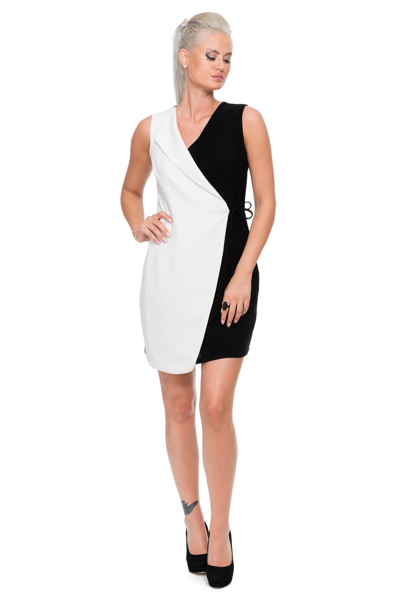Kısa Beyaz Iki Renk Elbise