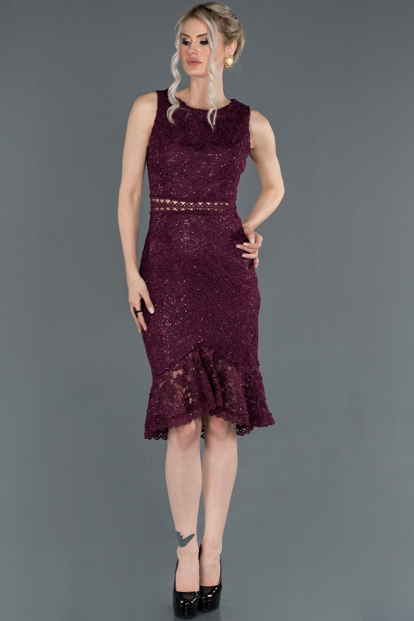 Mor Kısa Güpürlü Davet Elbisesi