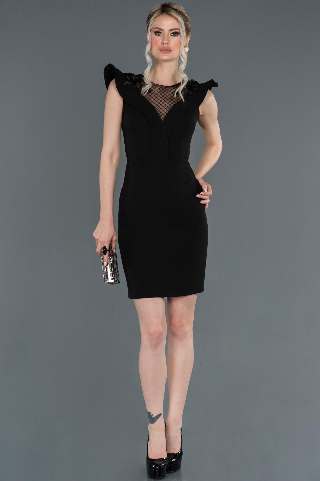 Siyah Kol Detaylı Davet Elbisesi