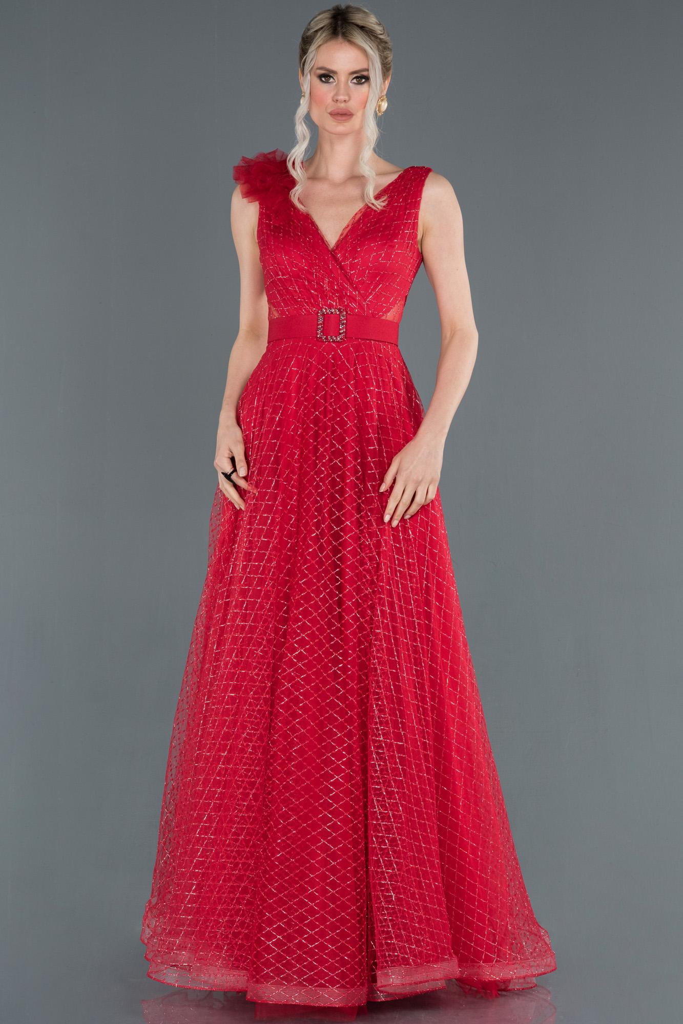 Kırmızı Kruvaze Yaka Simli Tül Abiye Elbise